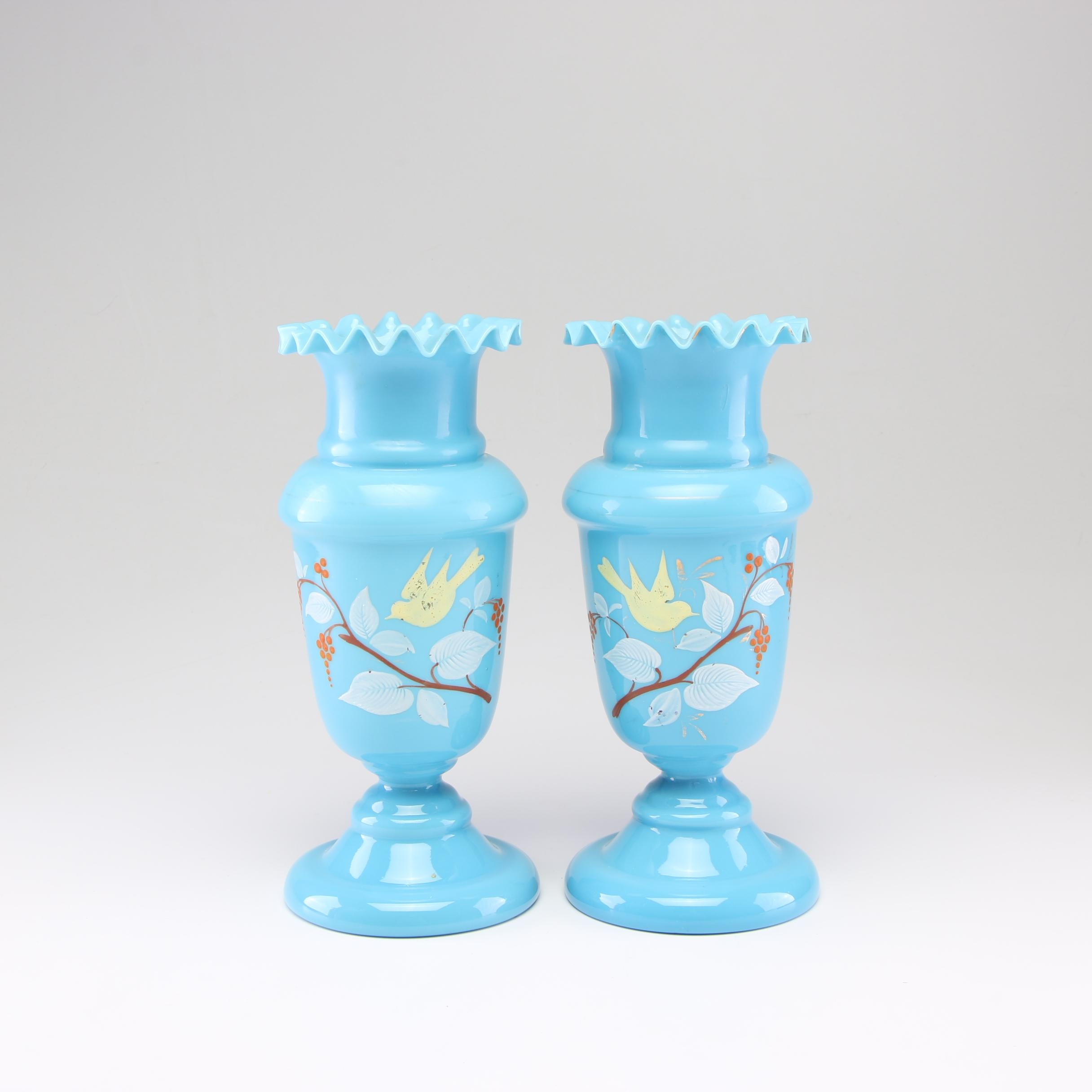 Bristol Blue Hand-Painted Vases, Late 19th/Early 20th Century
