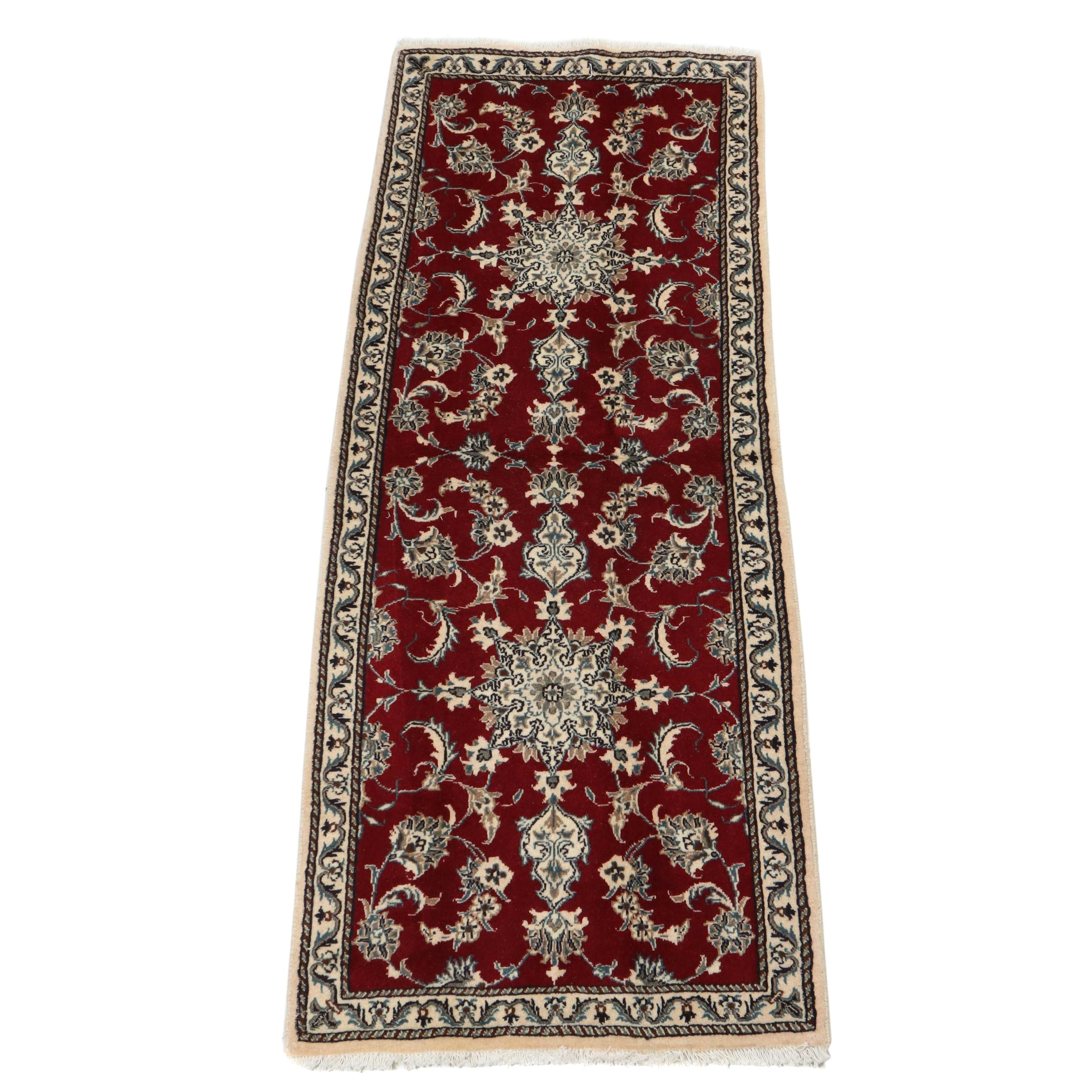 2.8' x 7.1' Hand-Knotted Persian Nain Silk Blend Carpet Runner