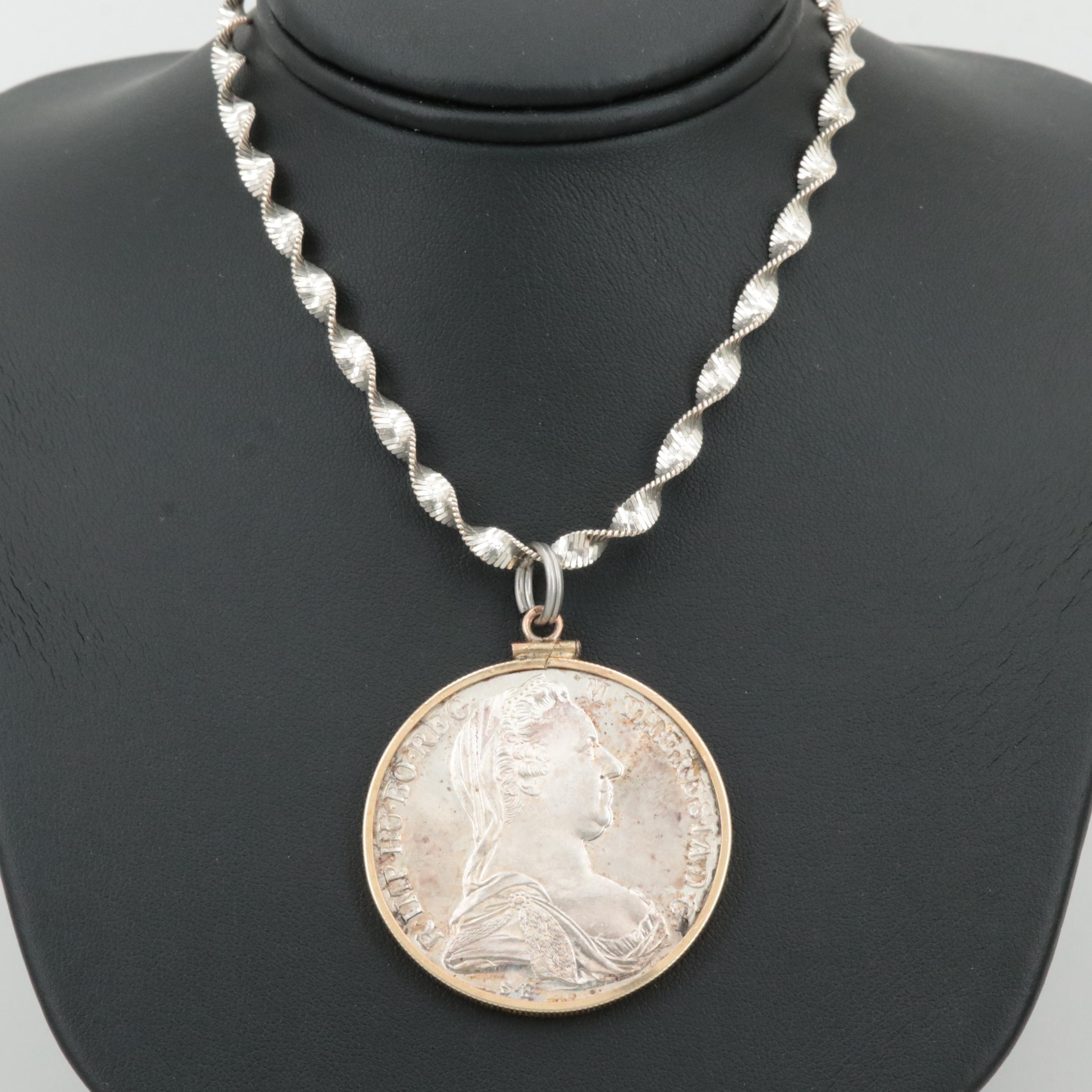Sterling Silver Necklace with a Proof Restrike 1780 Thaler Coin Bezel