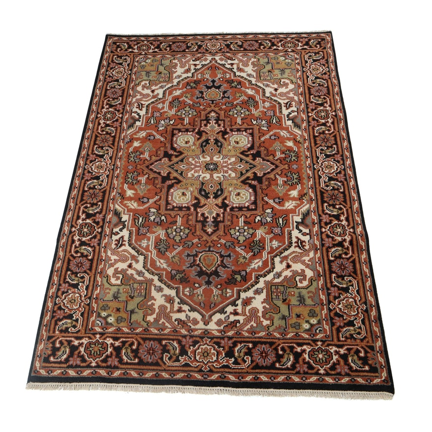 5.9' x 8.11' Hand-Knotted Indo-Persian Heriz Wool Rug