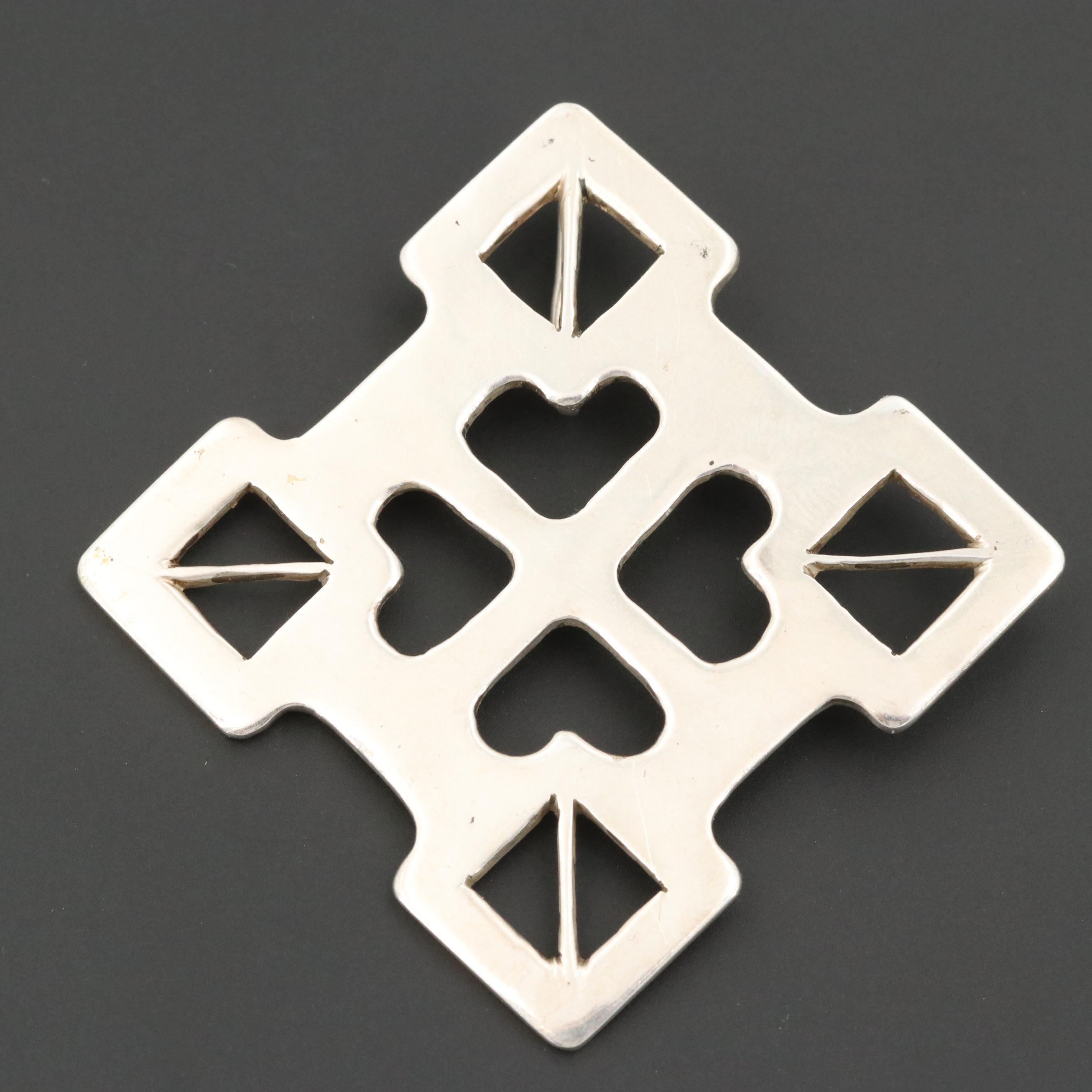 Sterling Silver Geometric Enhancer Pendant