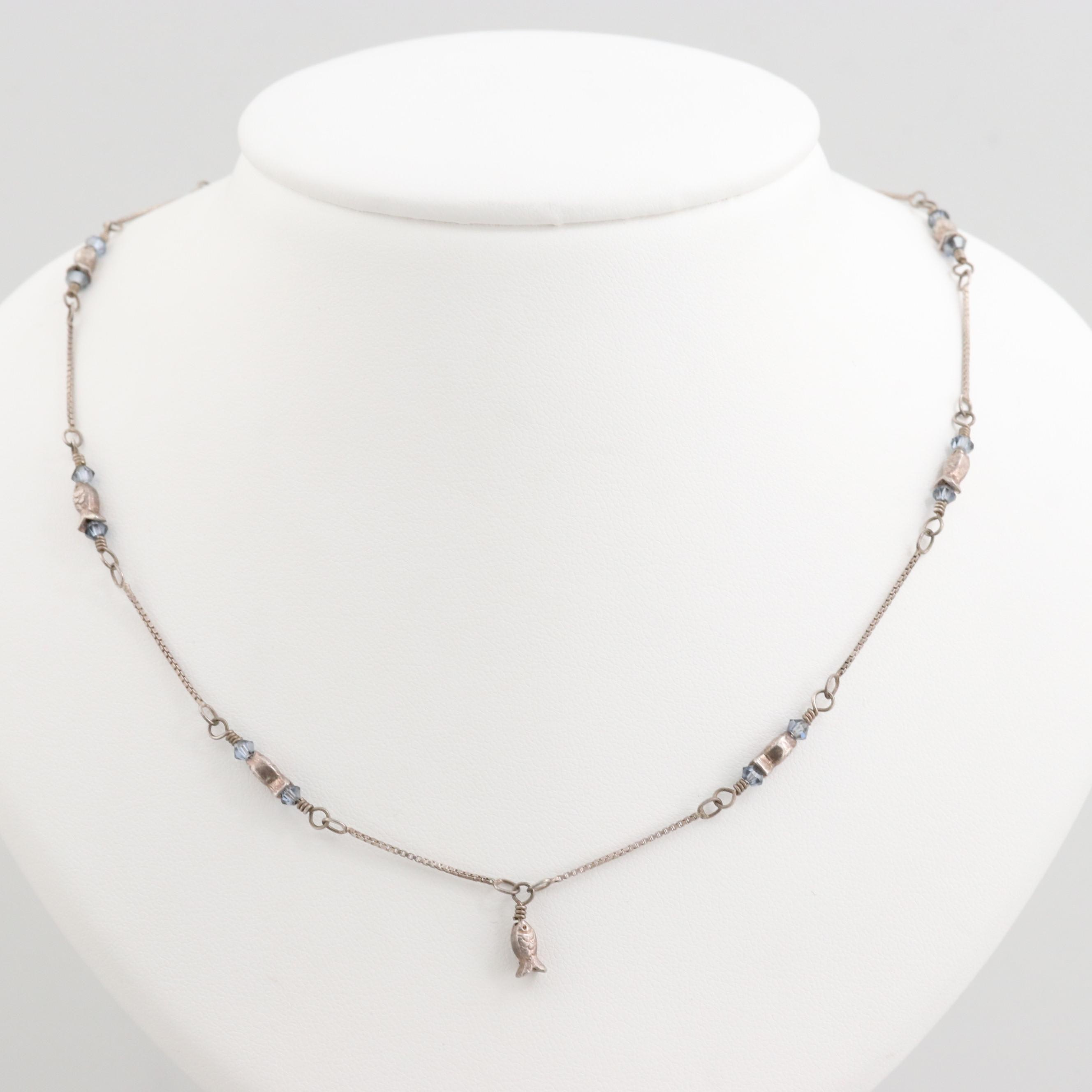 Sterling Silver Chain Necklace with Glass and Fish Motif Stations