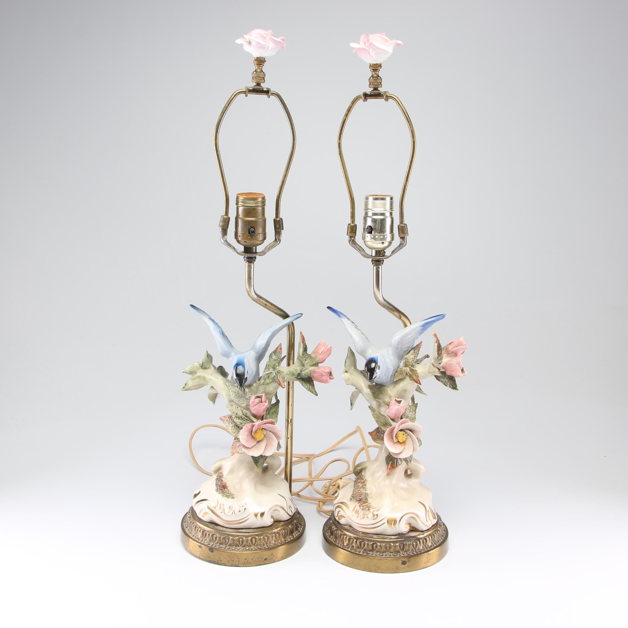 Converted Porcelain and Brass Figural Bird Table Lamps, Mid to Late 20th Century