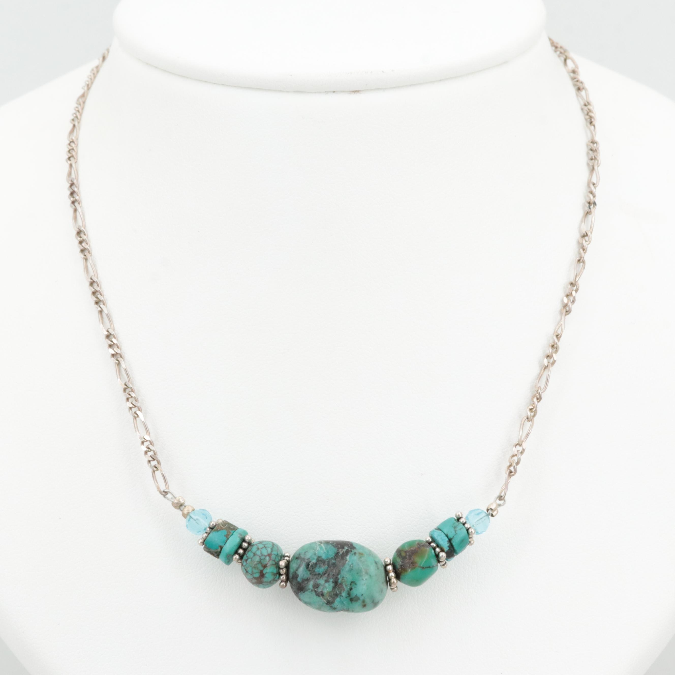 Sterling Silver Turquoise Necklace with Faceted Glass Accents