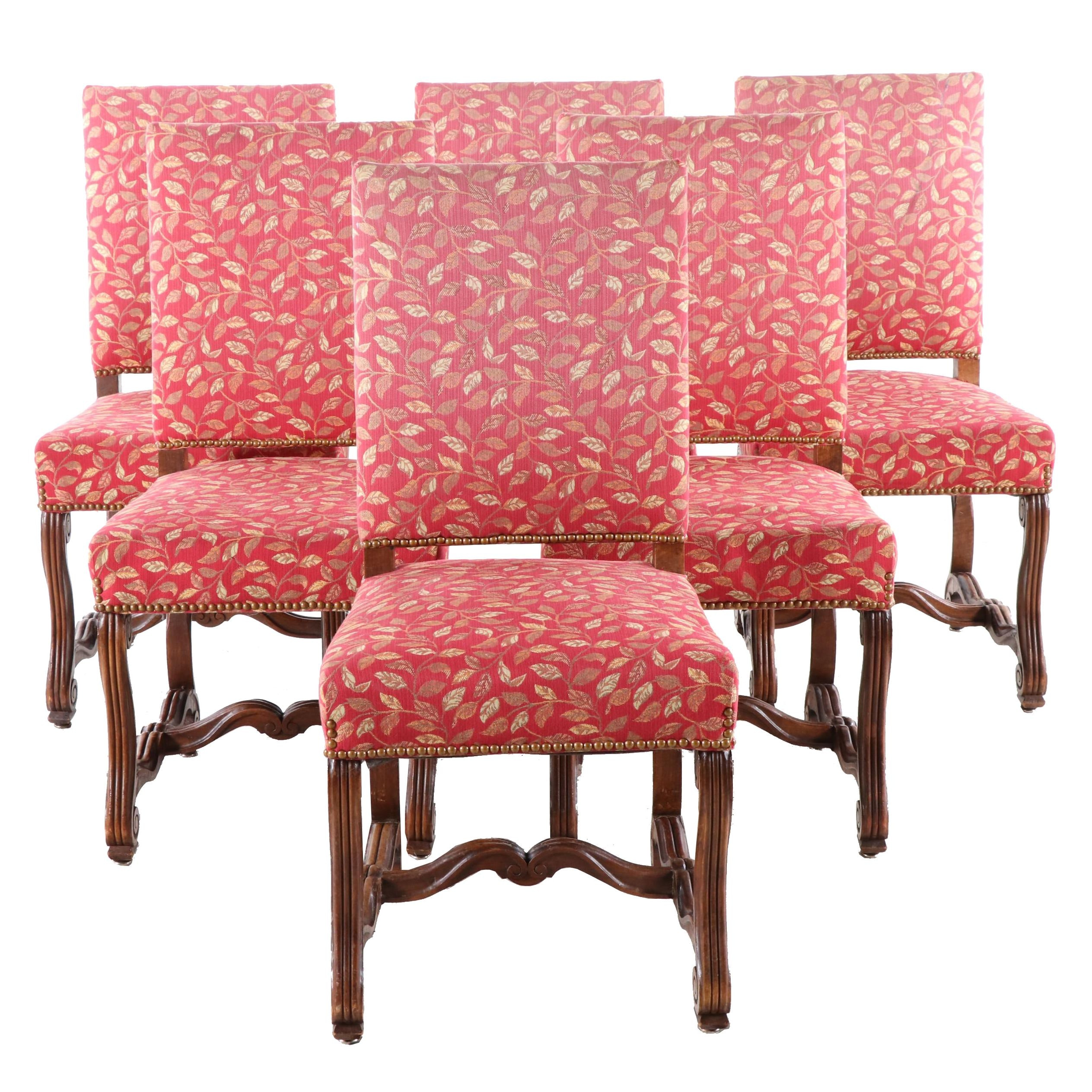 Six Renaissance Revival Style Dining Chairs, 20th Century
