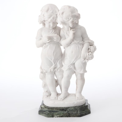 Carved Marble Sculpture of Twin Girls, Unsigned