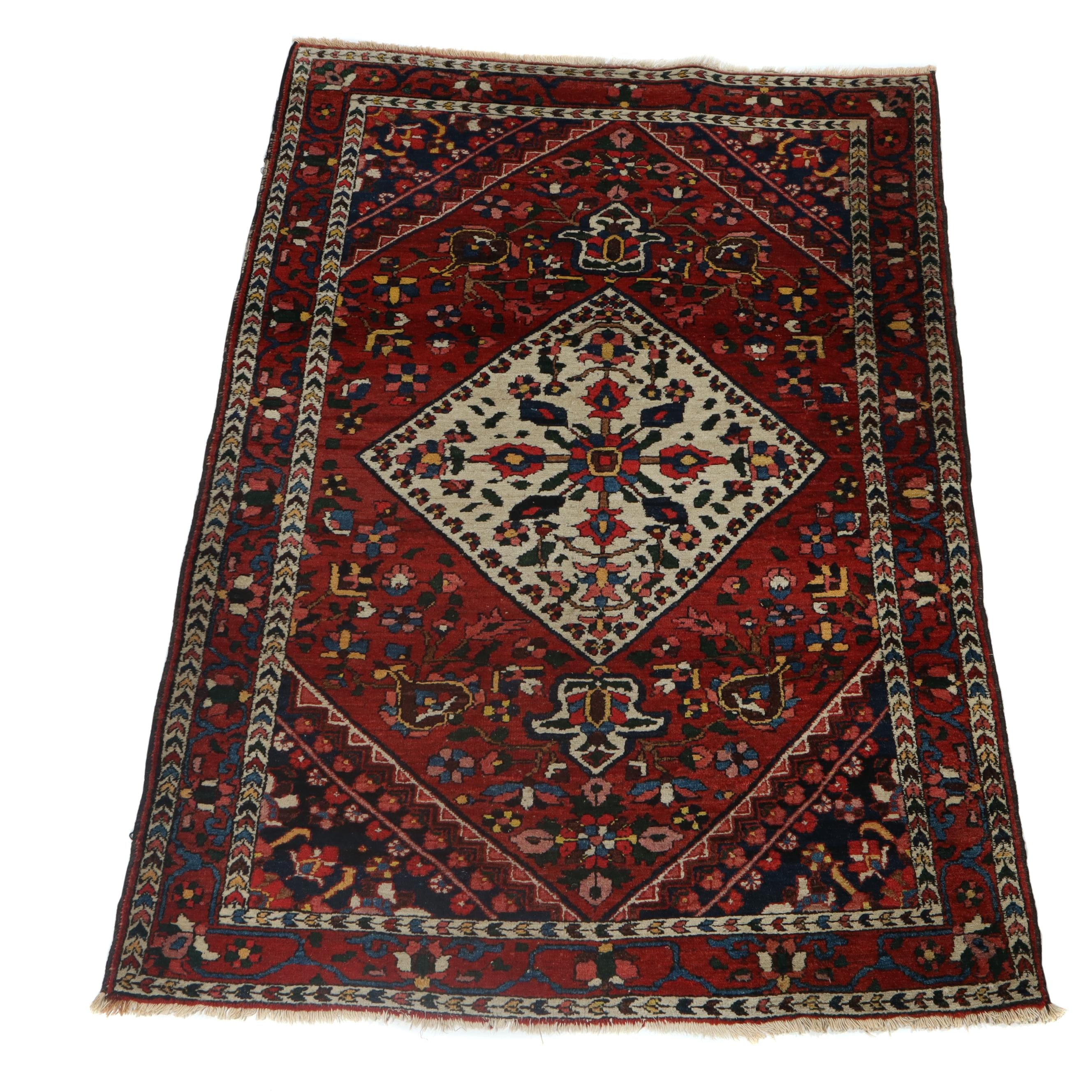 4.4' x 6.3' Hand-Knotted Persian Bakhtiari Wool Rug, Circa 1920s