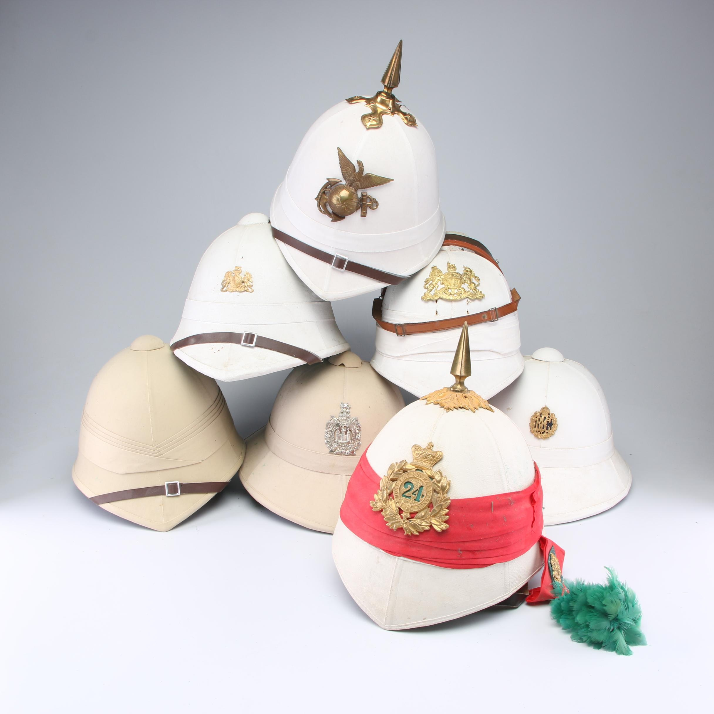 Military Pith Helmets Including The United States Marine Corps