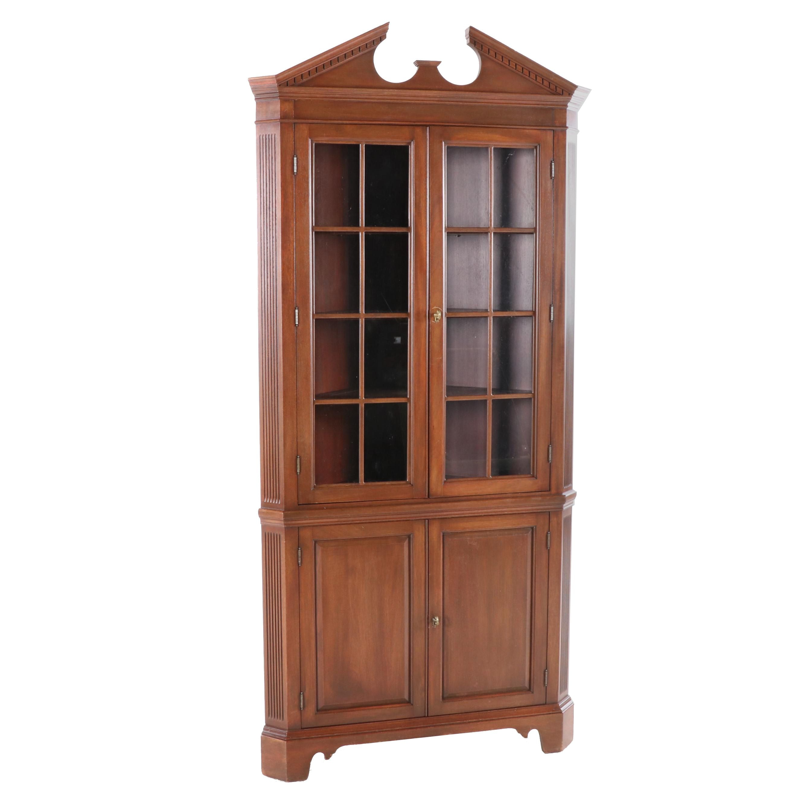 Federal Style Mahogany Corner Cabinet, Late 20th Century