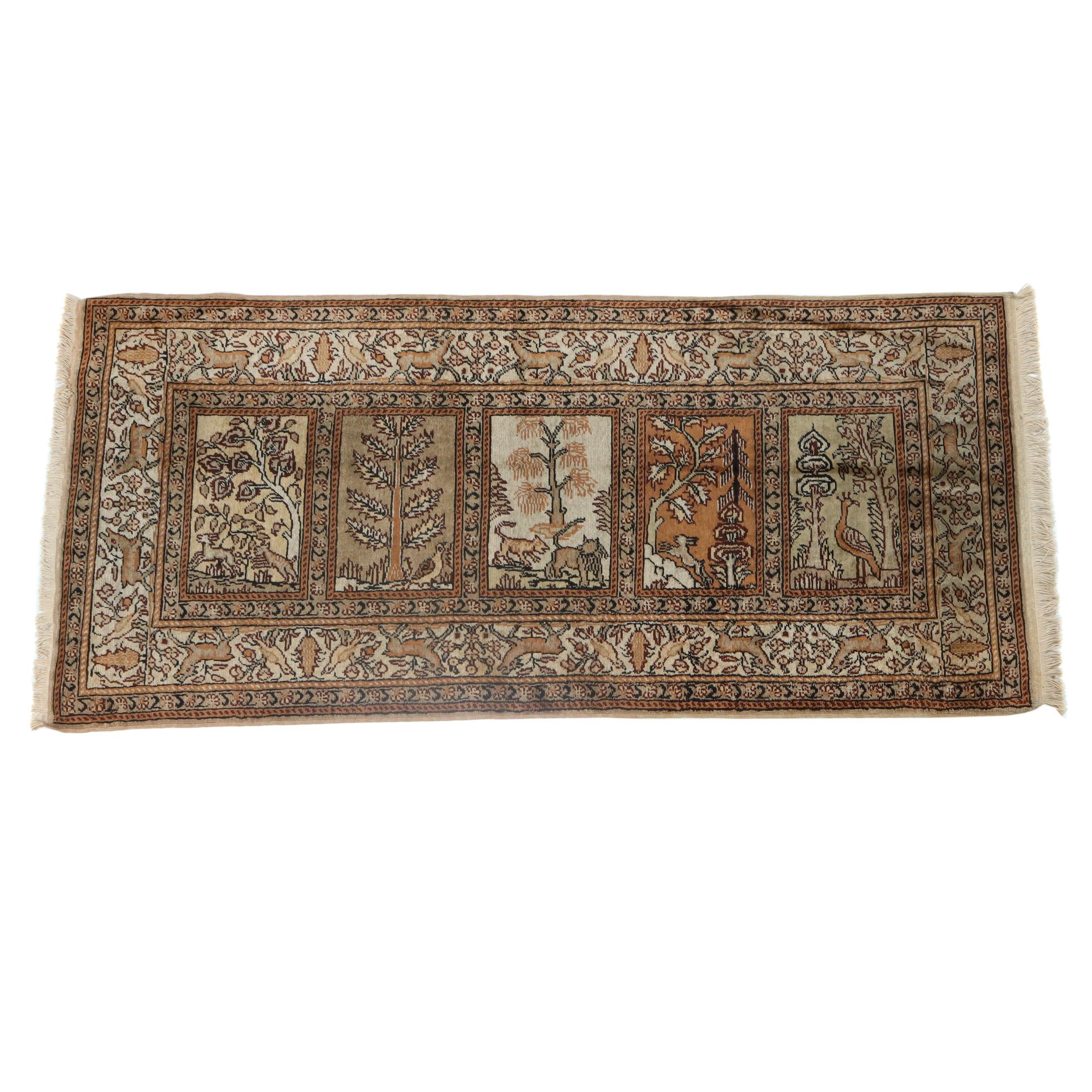 2.4' x 5.5' Hand-Knotted Turkish Kayseri Silk Pictorial Rug