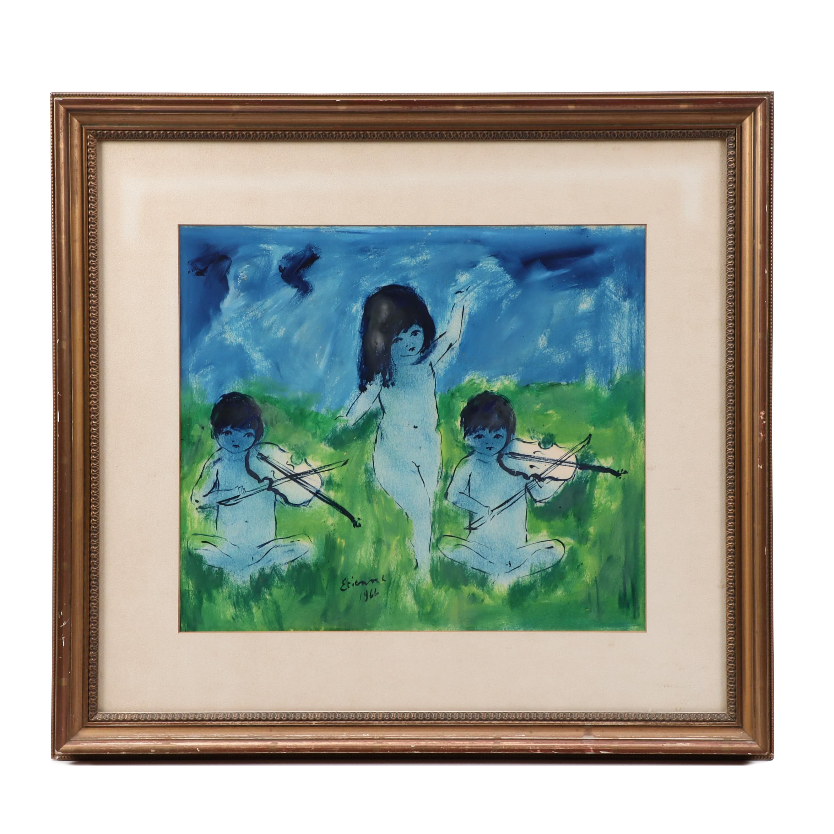 Roger Etienne Tempera Painting of Children Playing Fiddles and Dancing