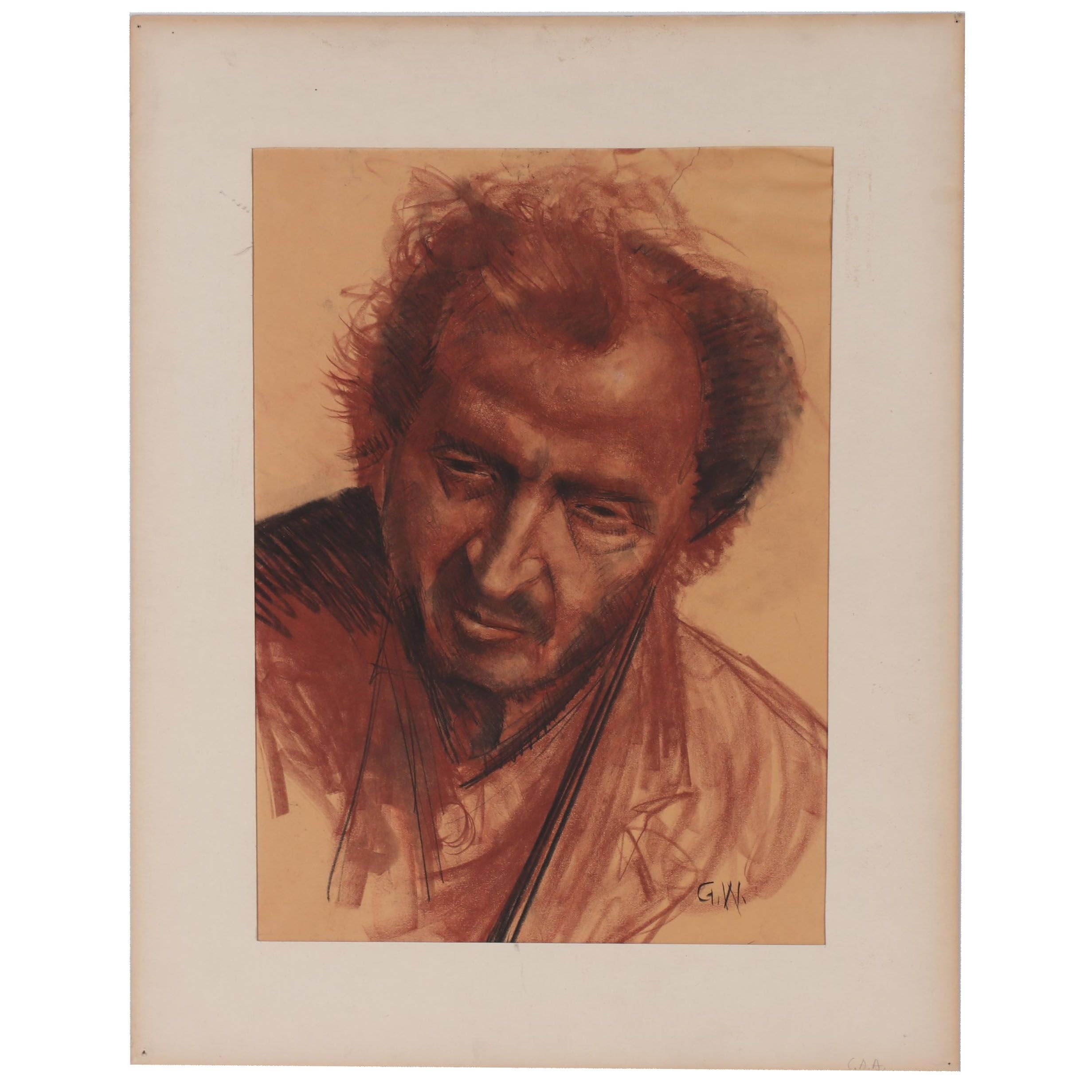George Williams Charcoal and Conté Crayon Portrait of Man