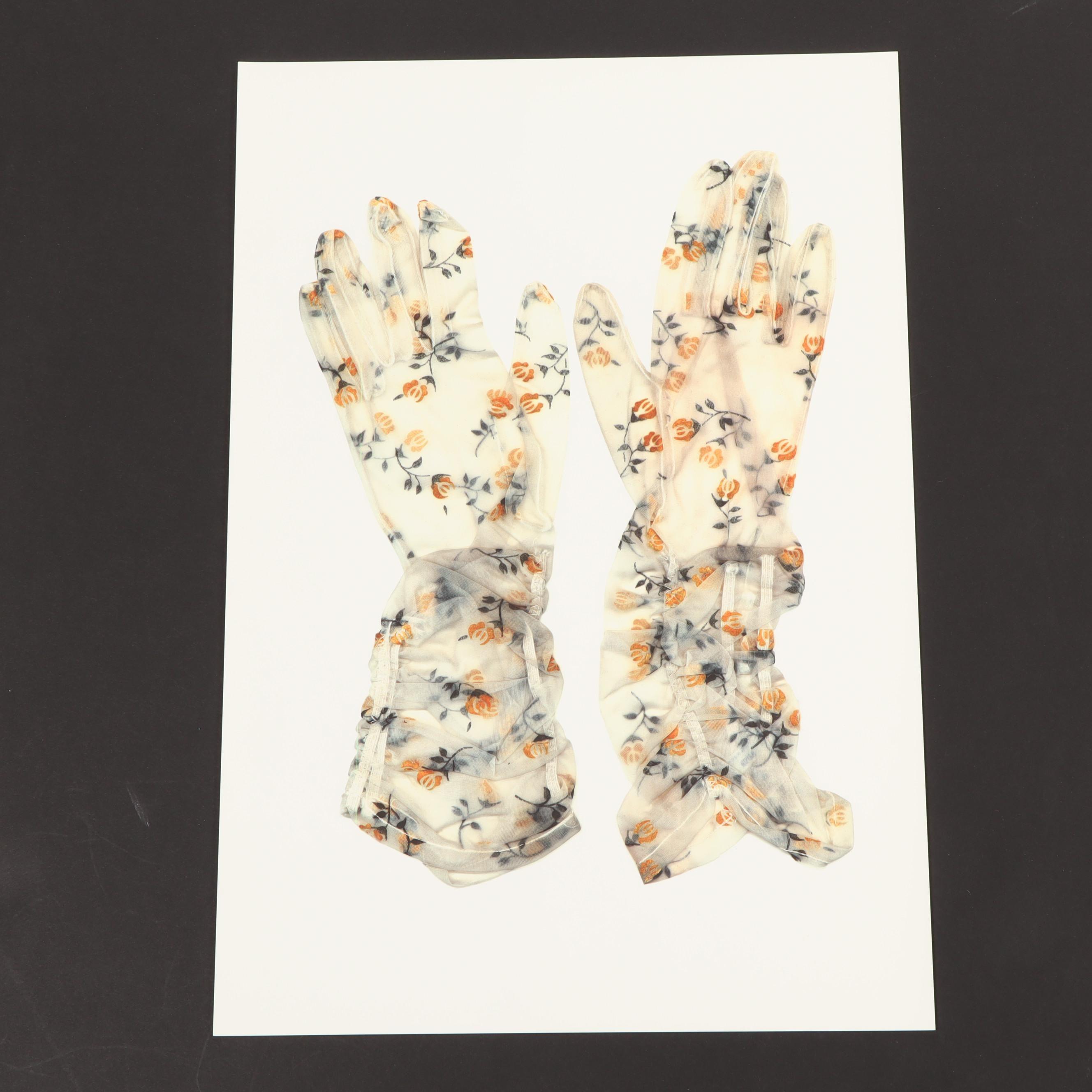 Karen Savage Color Photogram of Floral Gloves
