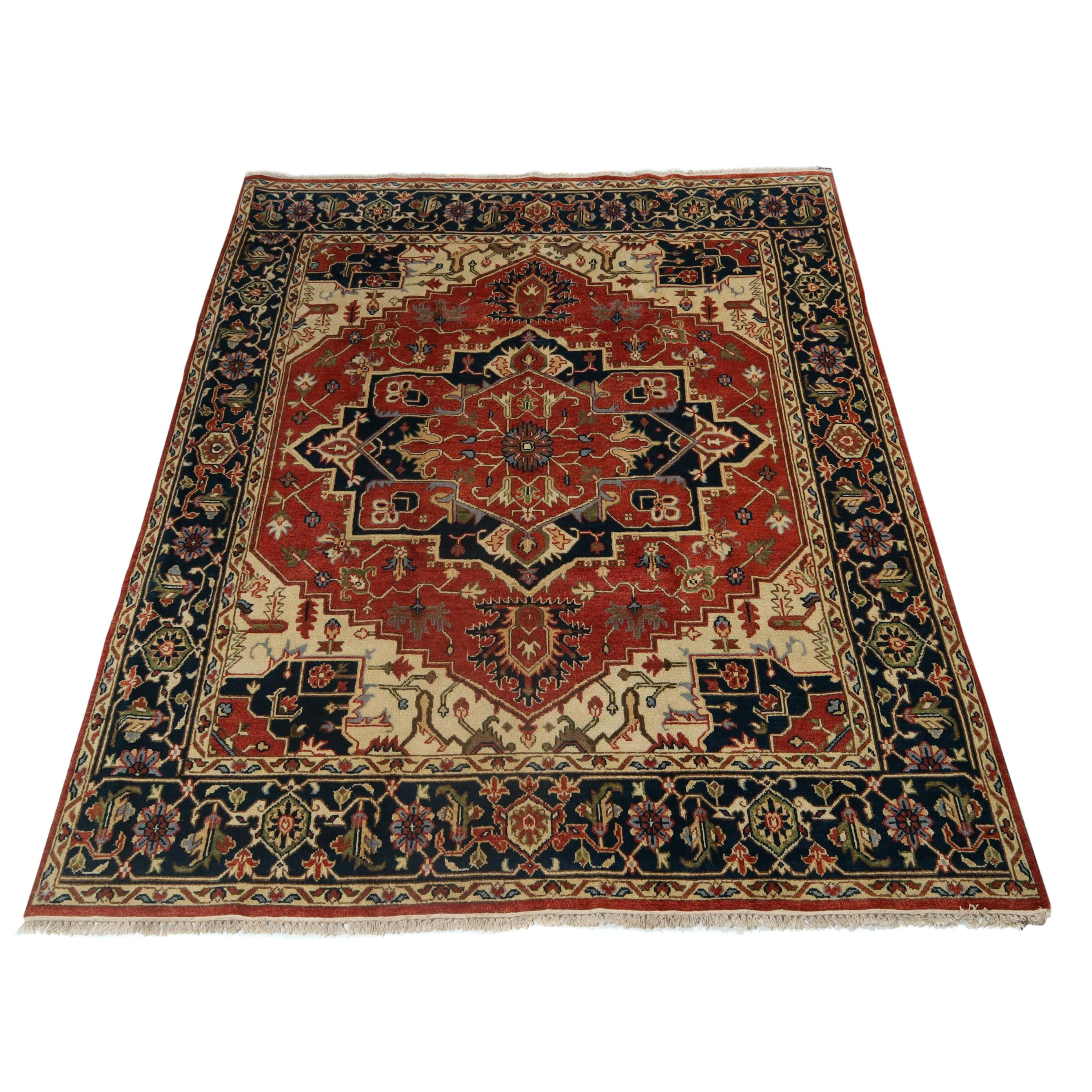 7.9' x 10' Hand-Knotted Indo-Persian Heriz Serapi Wool Rug