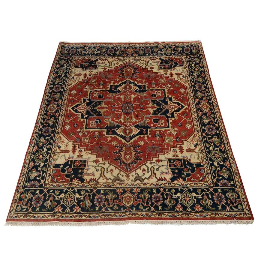 7.9' x 10' Hand-Knotted Indo-Persian Heriz Serapi Wool Rug