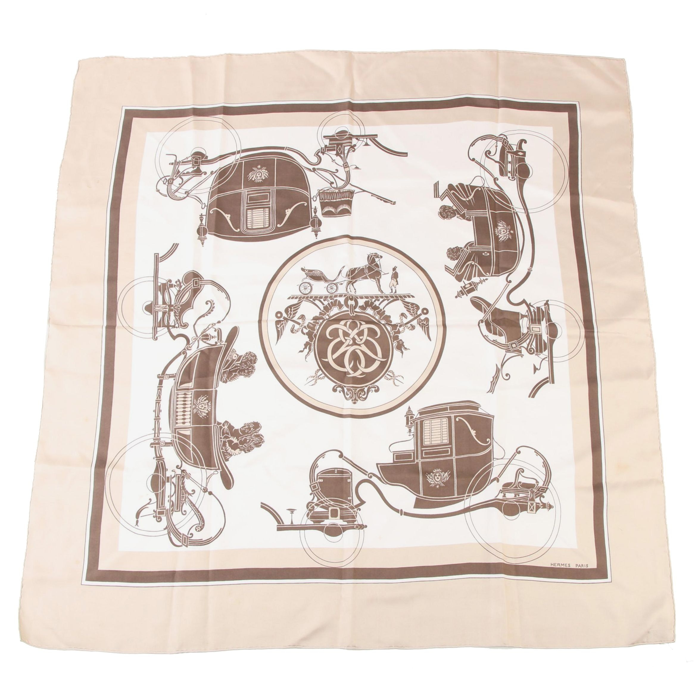 """Hermès Paris """"Ex-Libris"""" Silk Twill Scarf Designed by Hugo Grygkar, Vintage"""