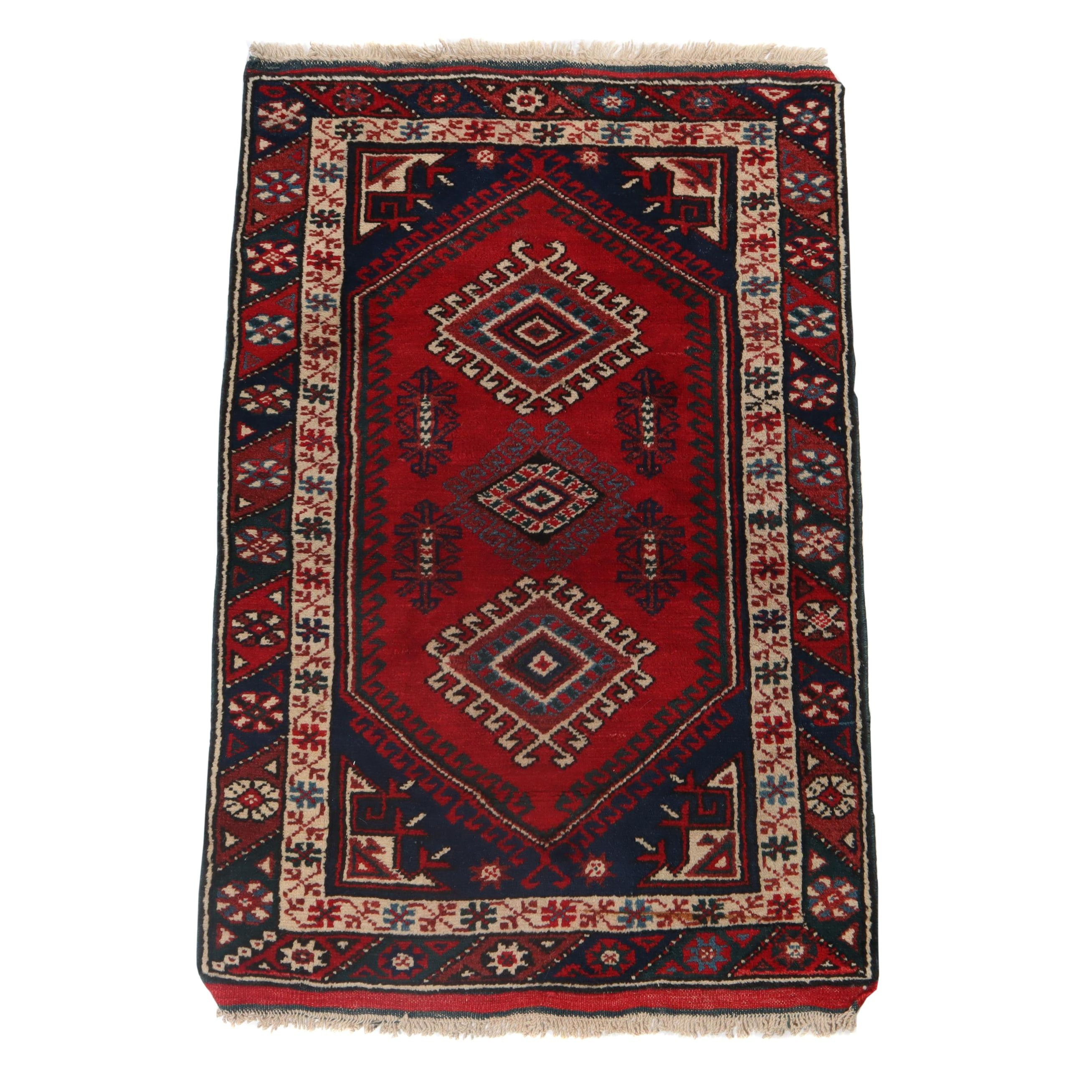 2'6 x 3'11 Hand-Knotted Turkish Caucasian Kazak Wool Rug