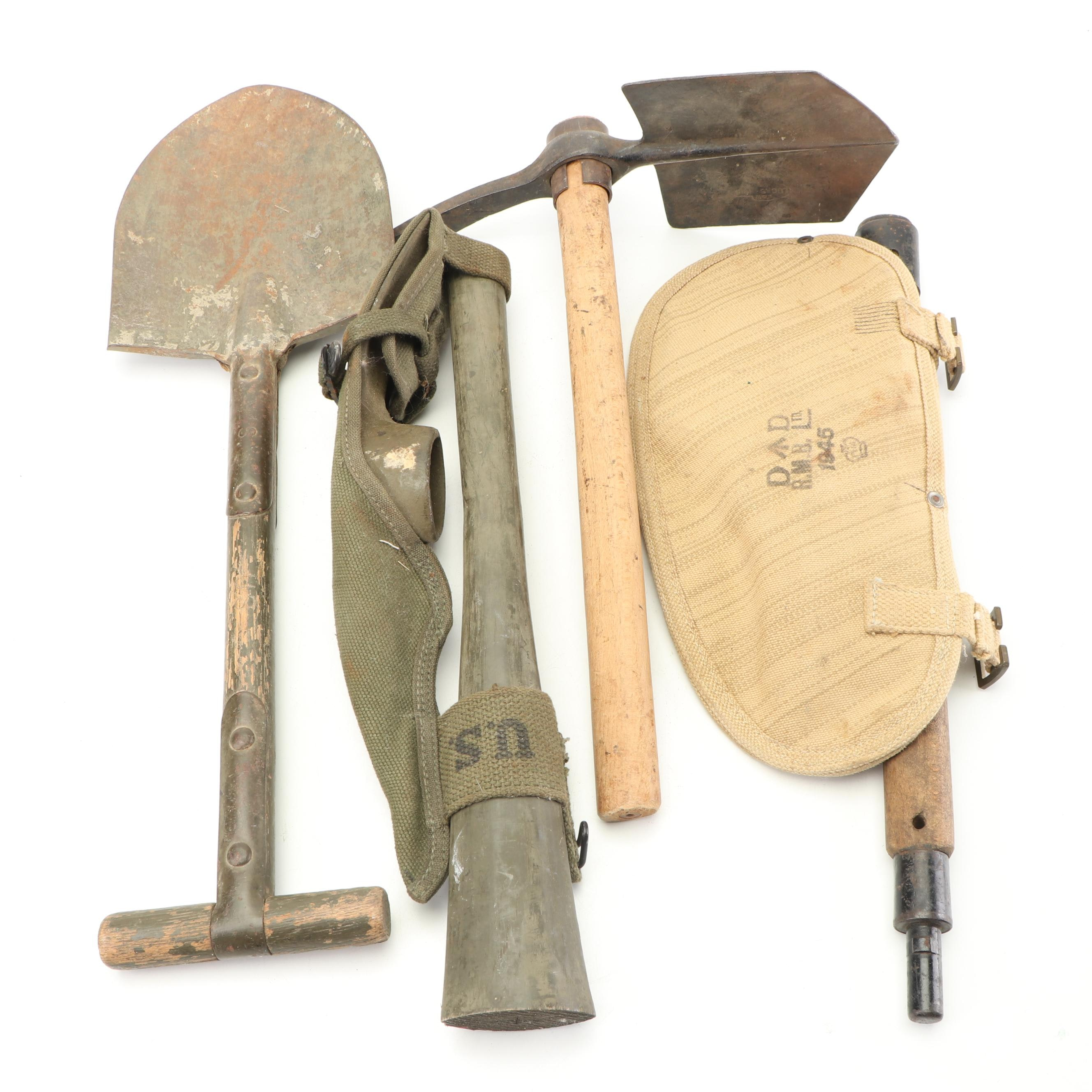Military Pickaxe and Shovels, Early to Mid 20th Century