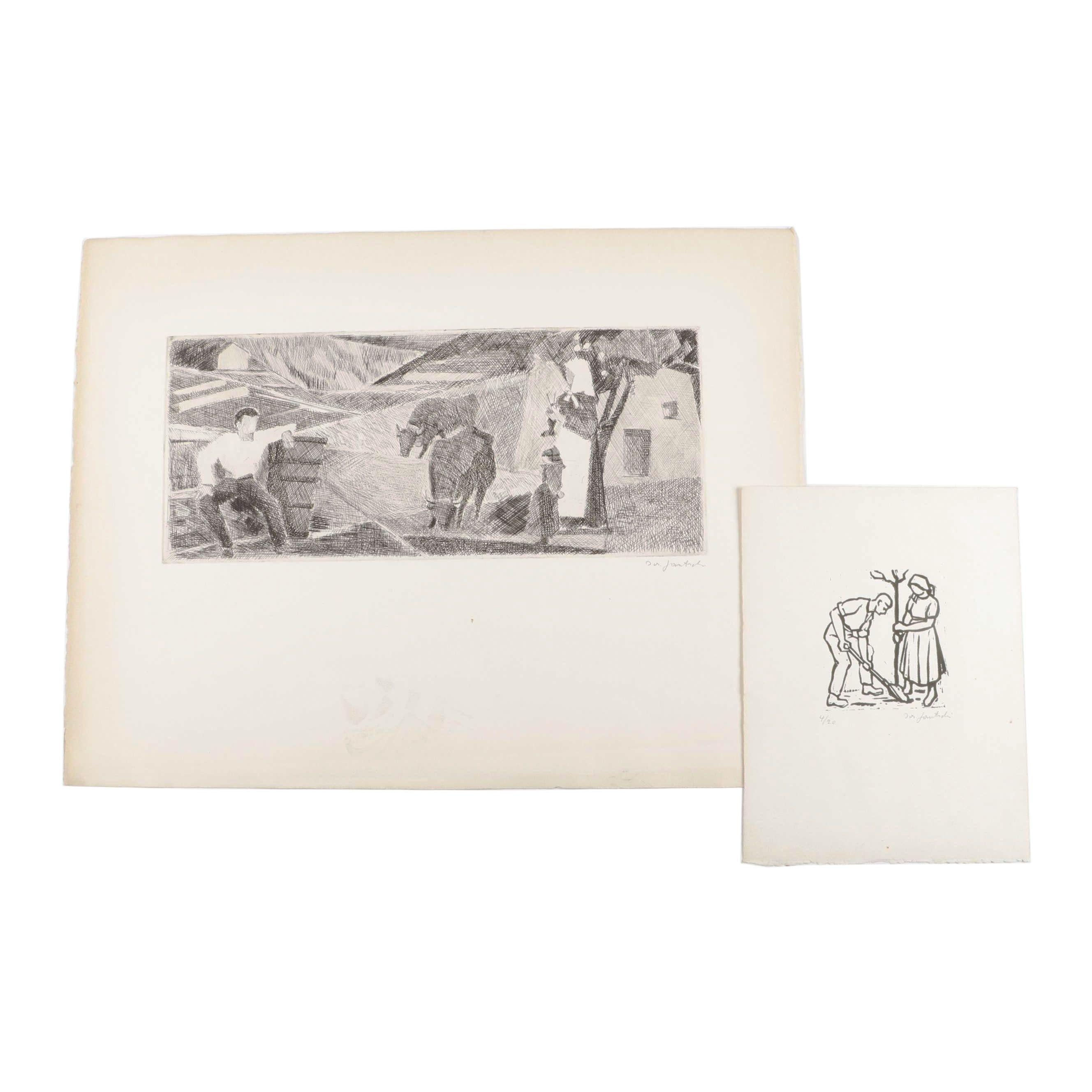 Joseph Gautschi Figural Woodblock and Etching