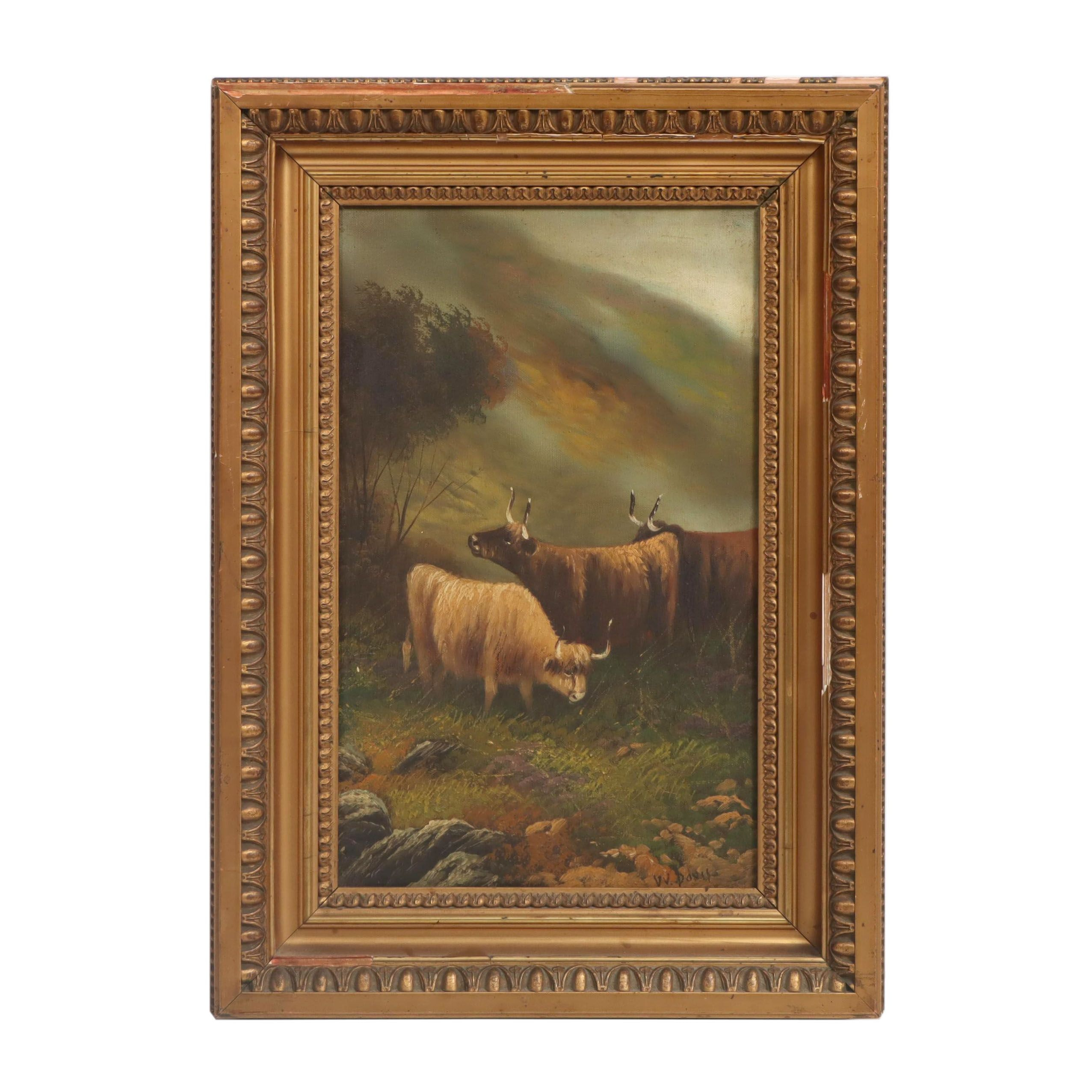 W. Davis Highland Cattle Oil Painting, 19th Century
