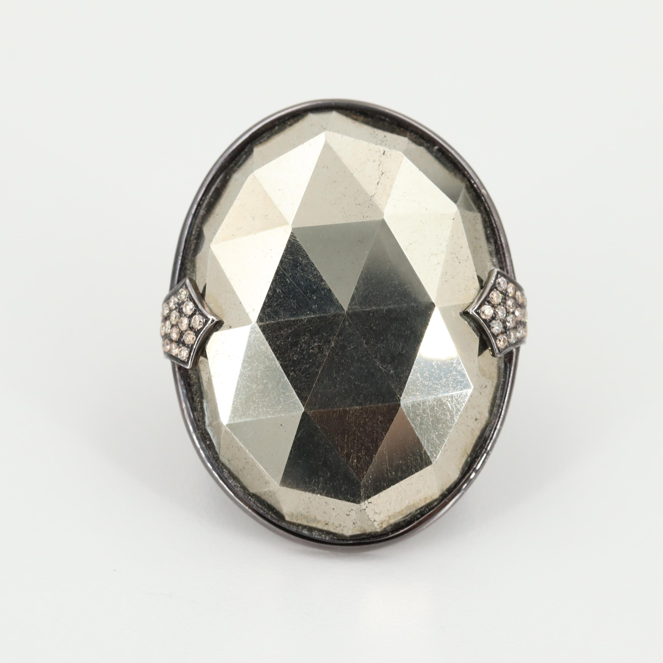 Sterling Silver Pyrite Ring with Diamond Accents