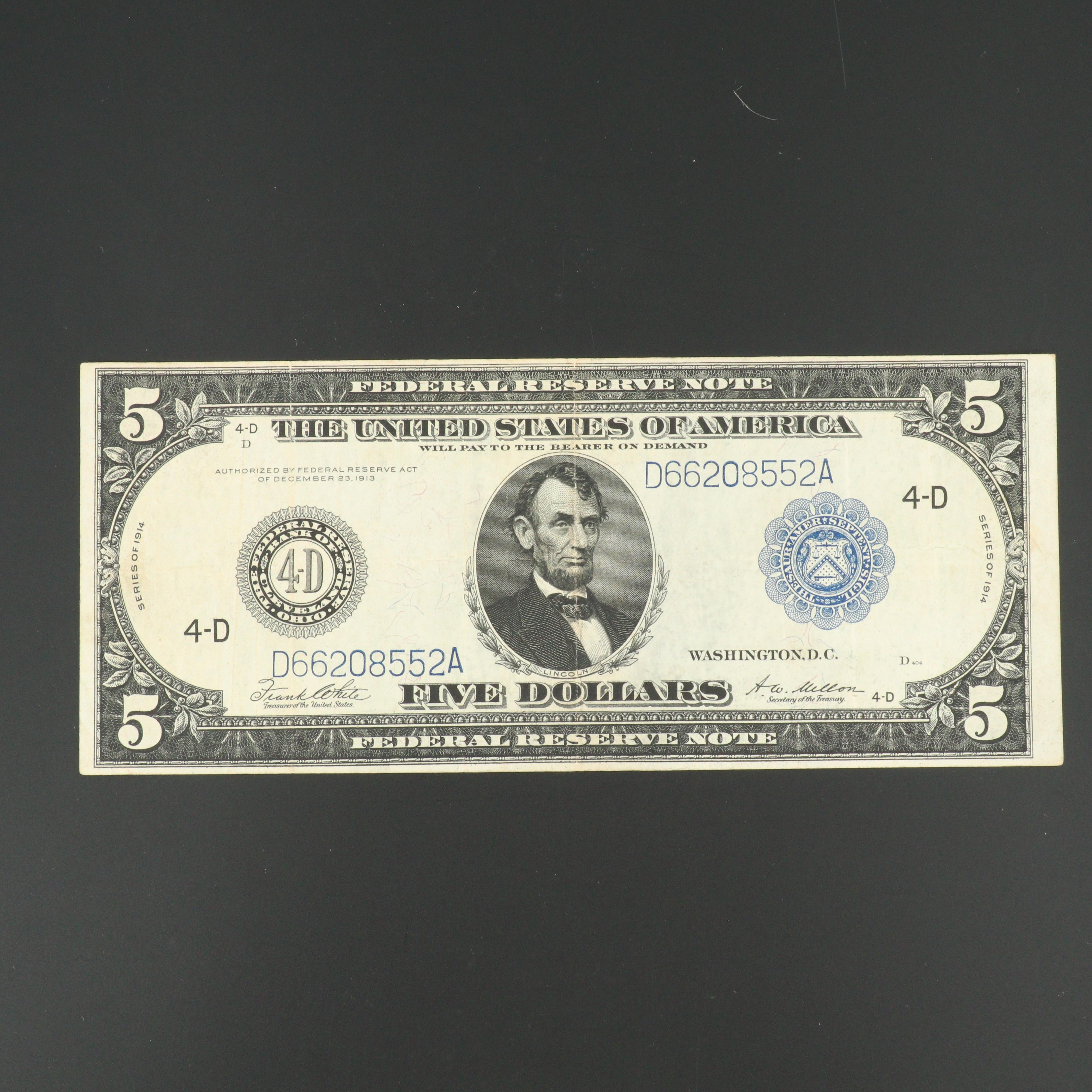 Series of 1914 Blue Seal Five Dollar Reserve Note