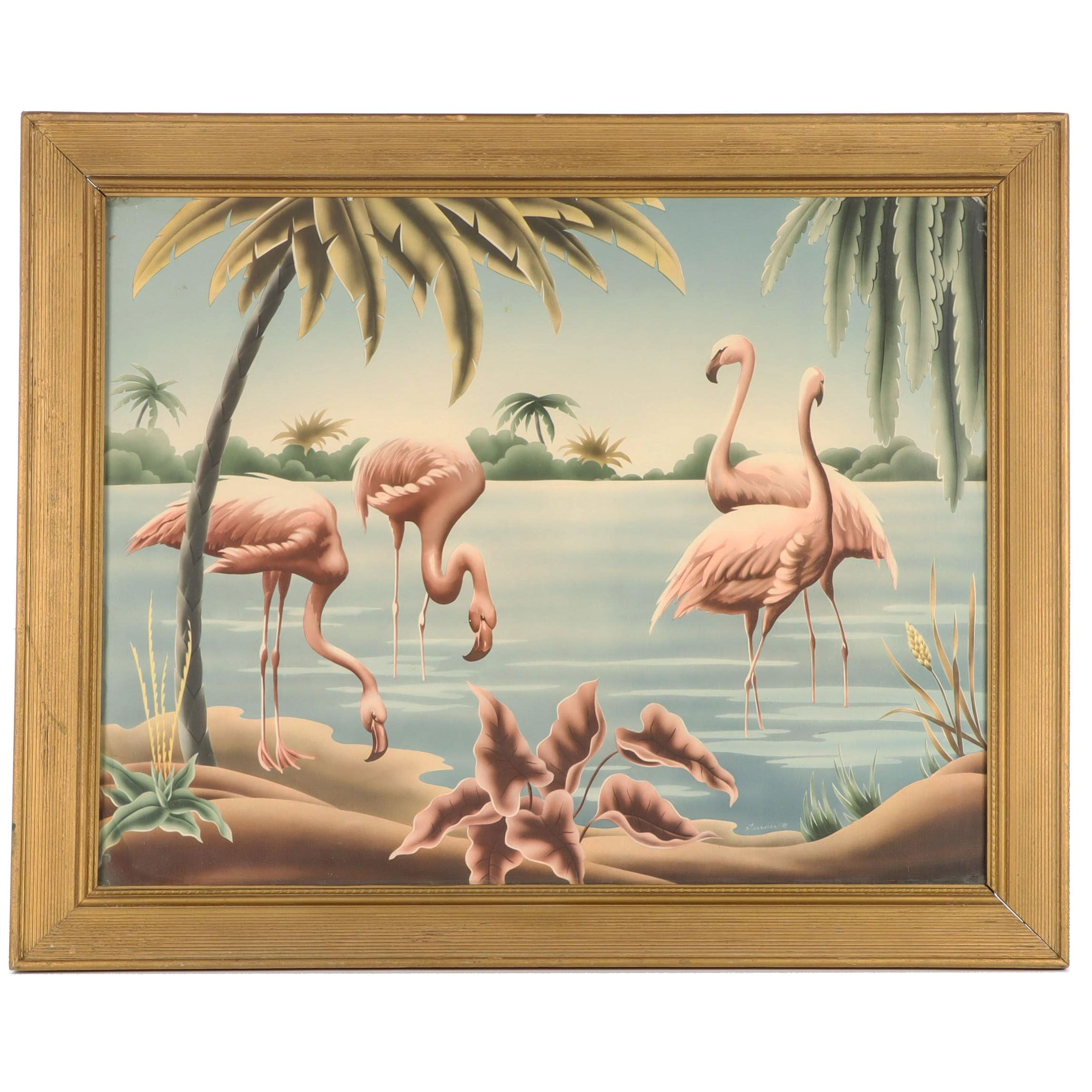 Late 20th Century Giclée of Flamingos