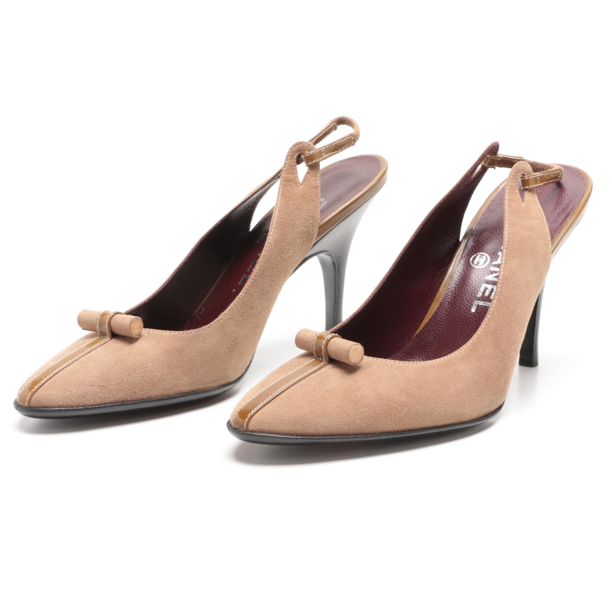 Chanel Light Brown Suede Slingback Heels with Patent Leather Detail