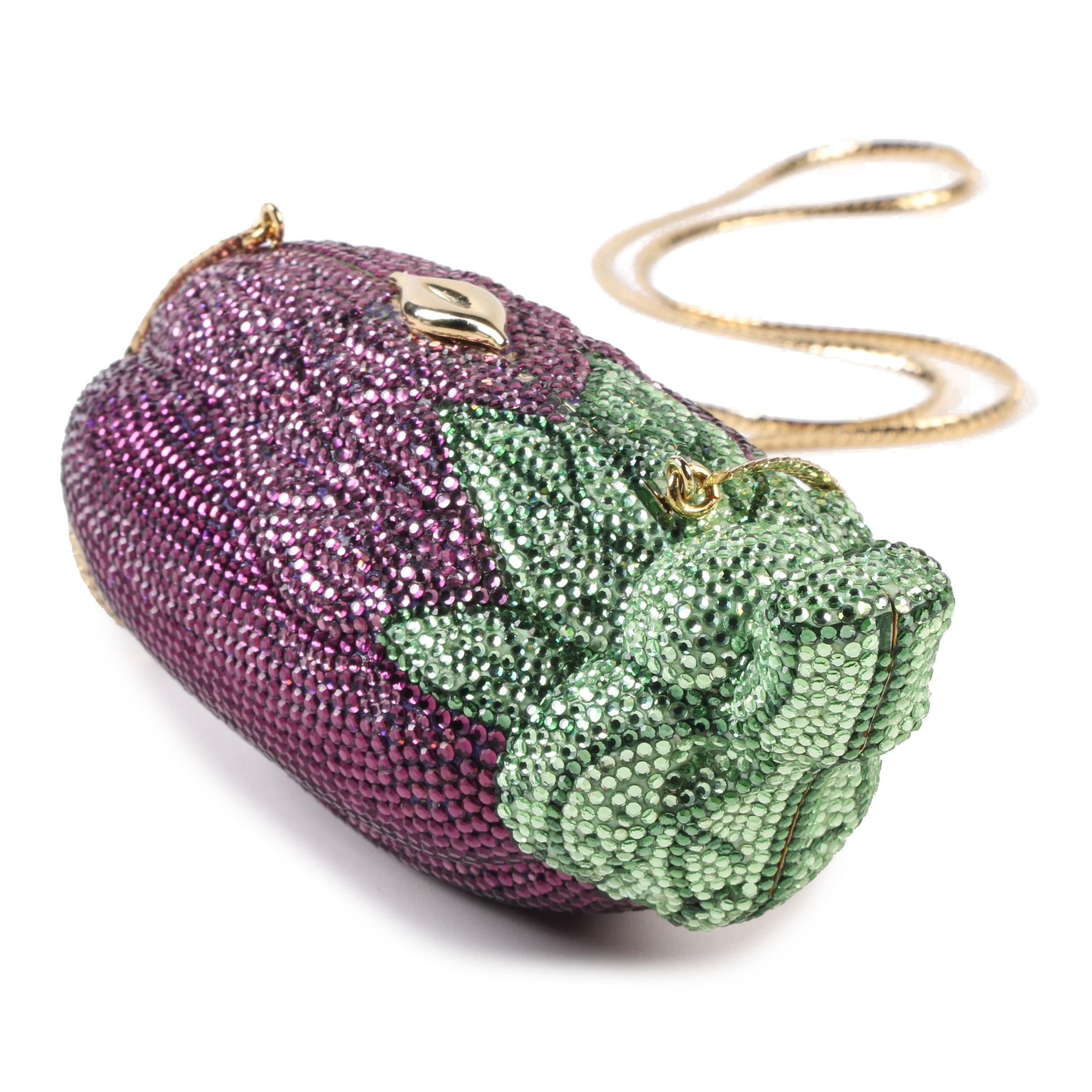 Judith Leiber Austrian Crystal Eggplant Minaudière Evening Bag with Snake Chain