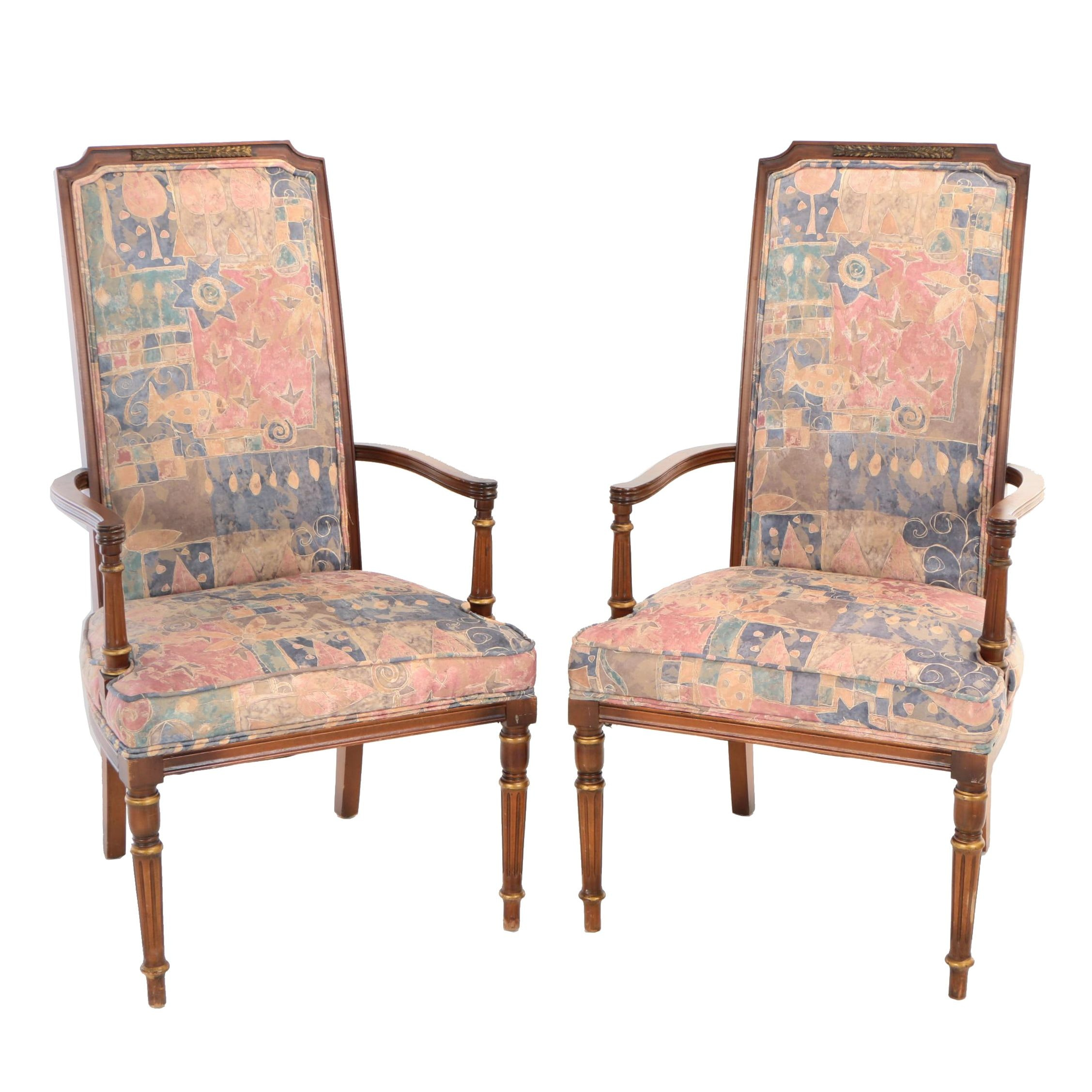 Pair of Louis XVI Style Walnut-Stained and Parcel-Gilt Open Armchairs