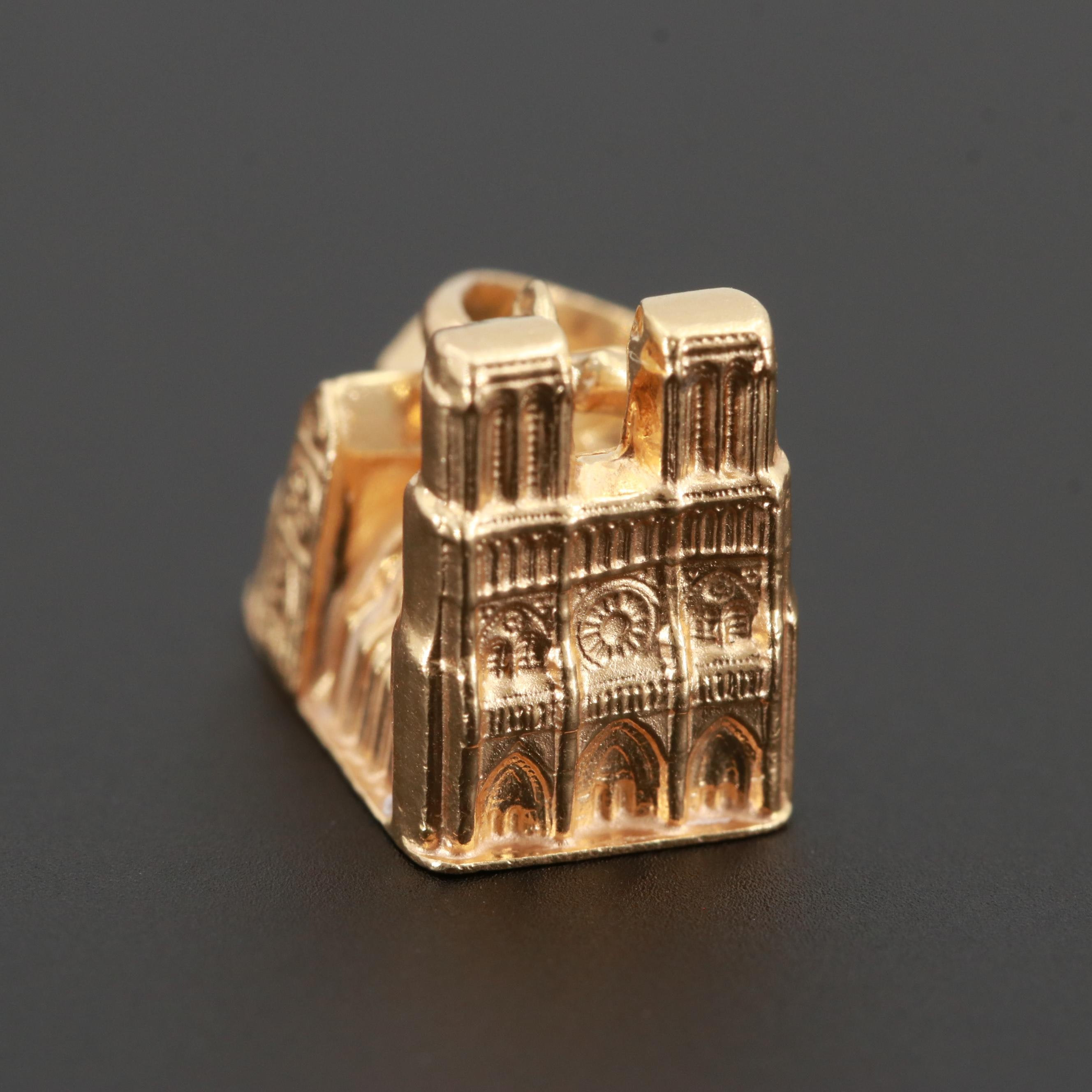 18K Yellow Gold Notre Dame Cathedral Charm Pendant
