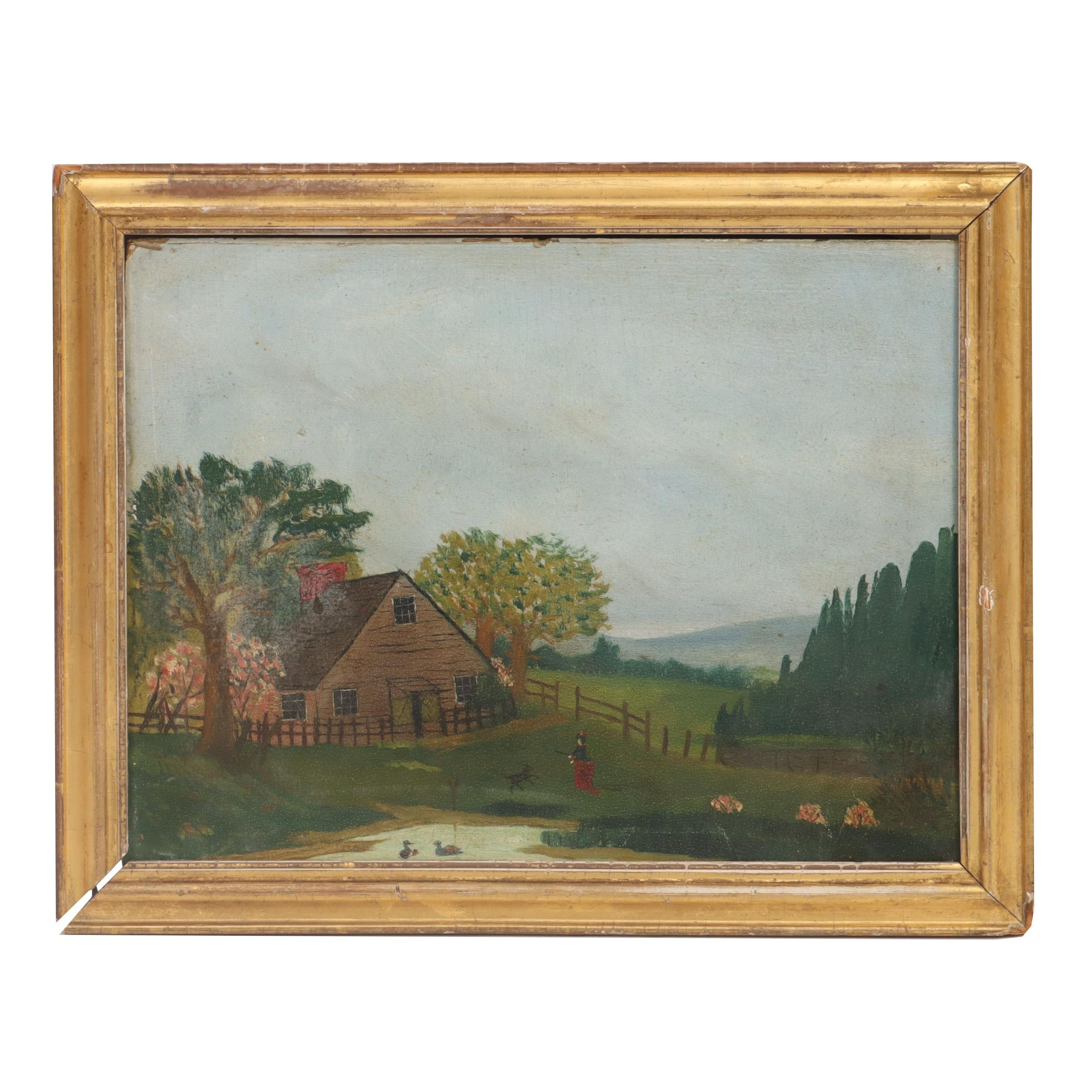 Late 19th Century Rural Landscape Oil Painting