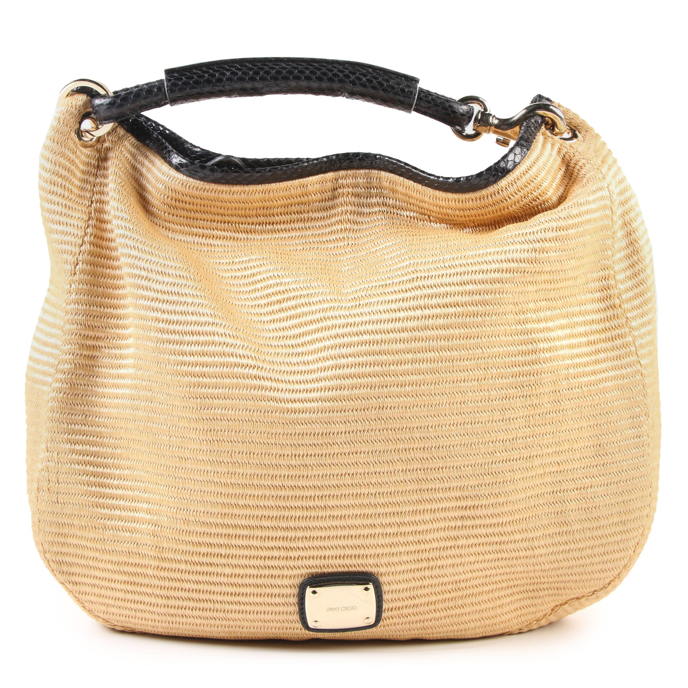 Jimmy Choo Sky Hobo Bag in Woven Raffia with Black Snakeskin Trim
