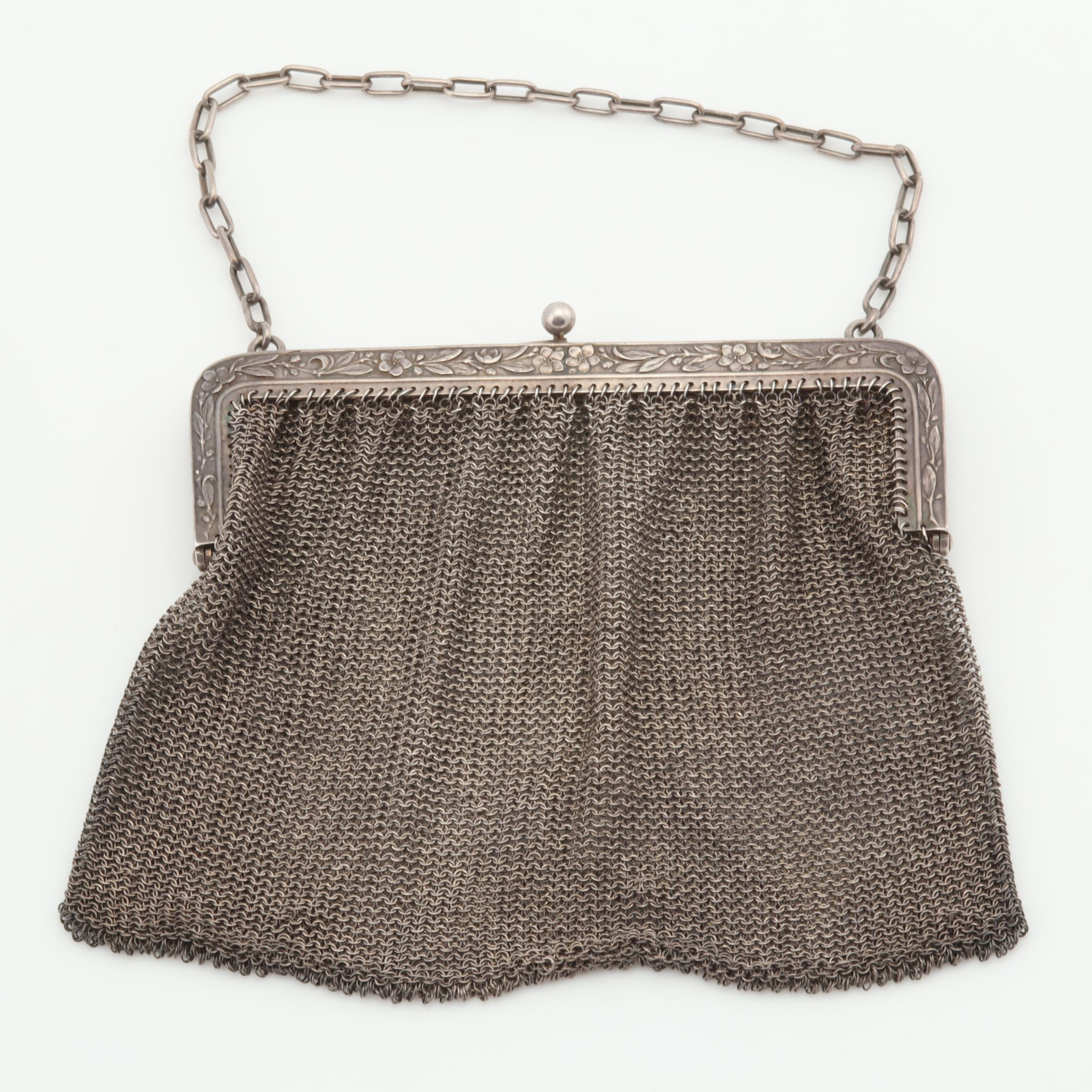 Sterling Silver Framed Mesh Purse with Florals, Early 20th Century