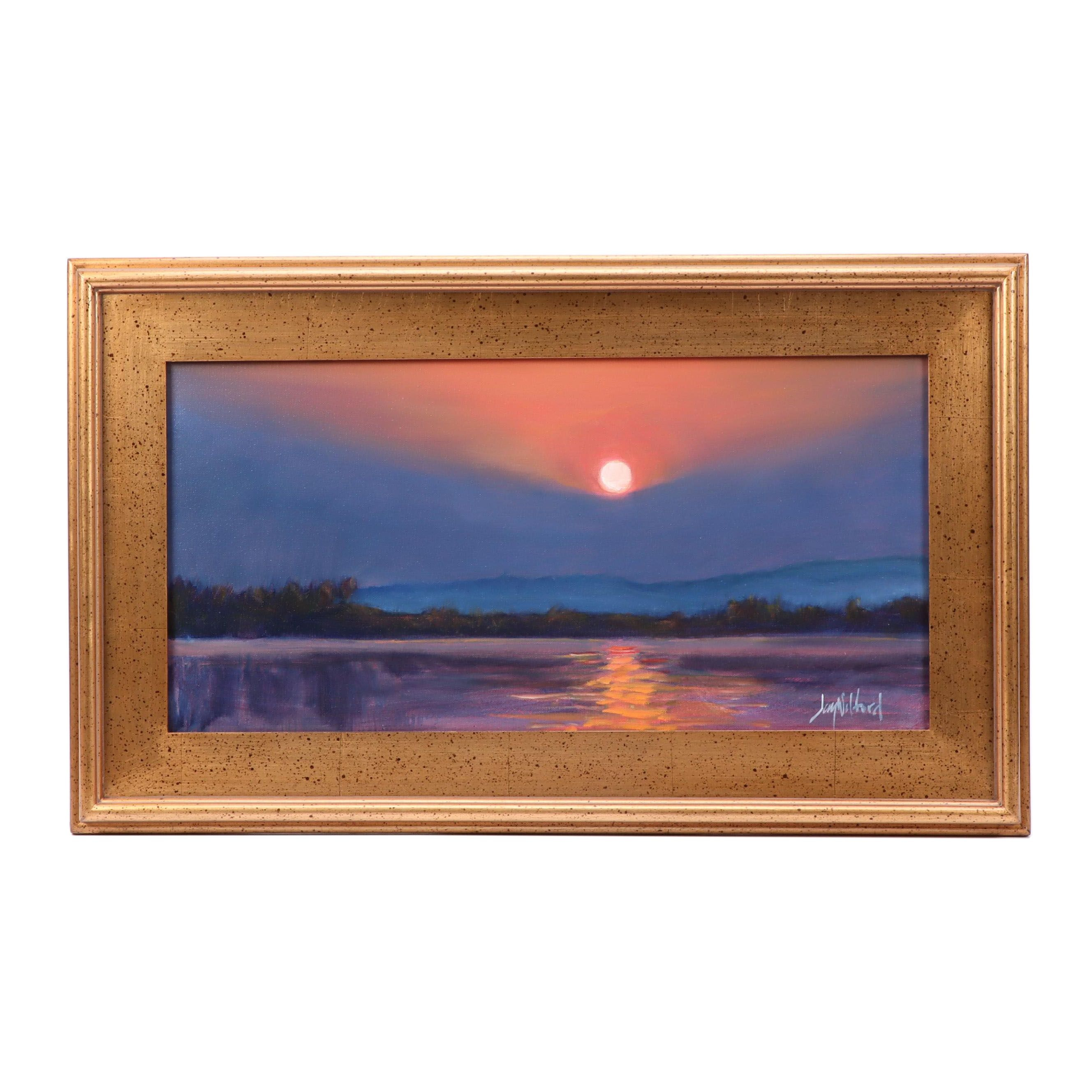 """Jay Wilford Oil Painting """"River Sunrise"""""""