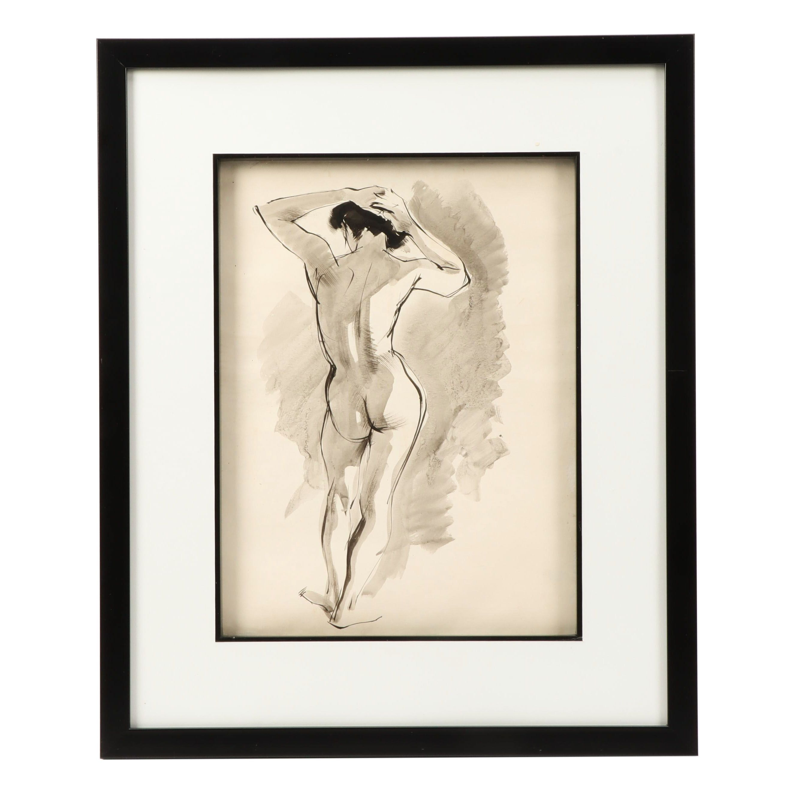 Truman Toland Watercolor Painting of Nude Figure