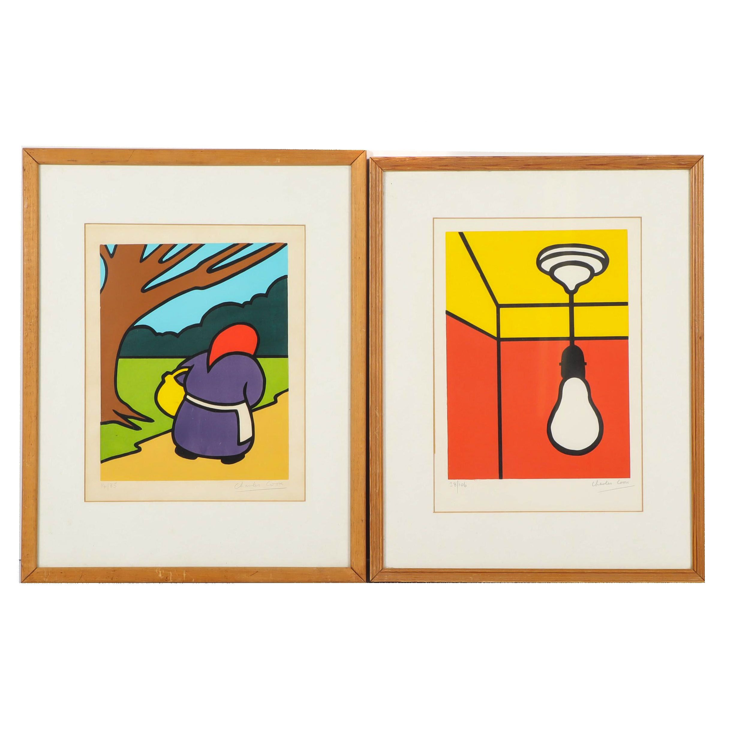 Charles Cook Serigraphs of a Light Bulb and Woman Walking in Park