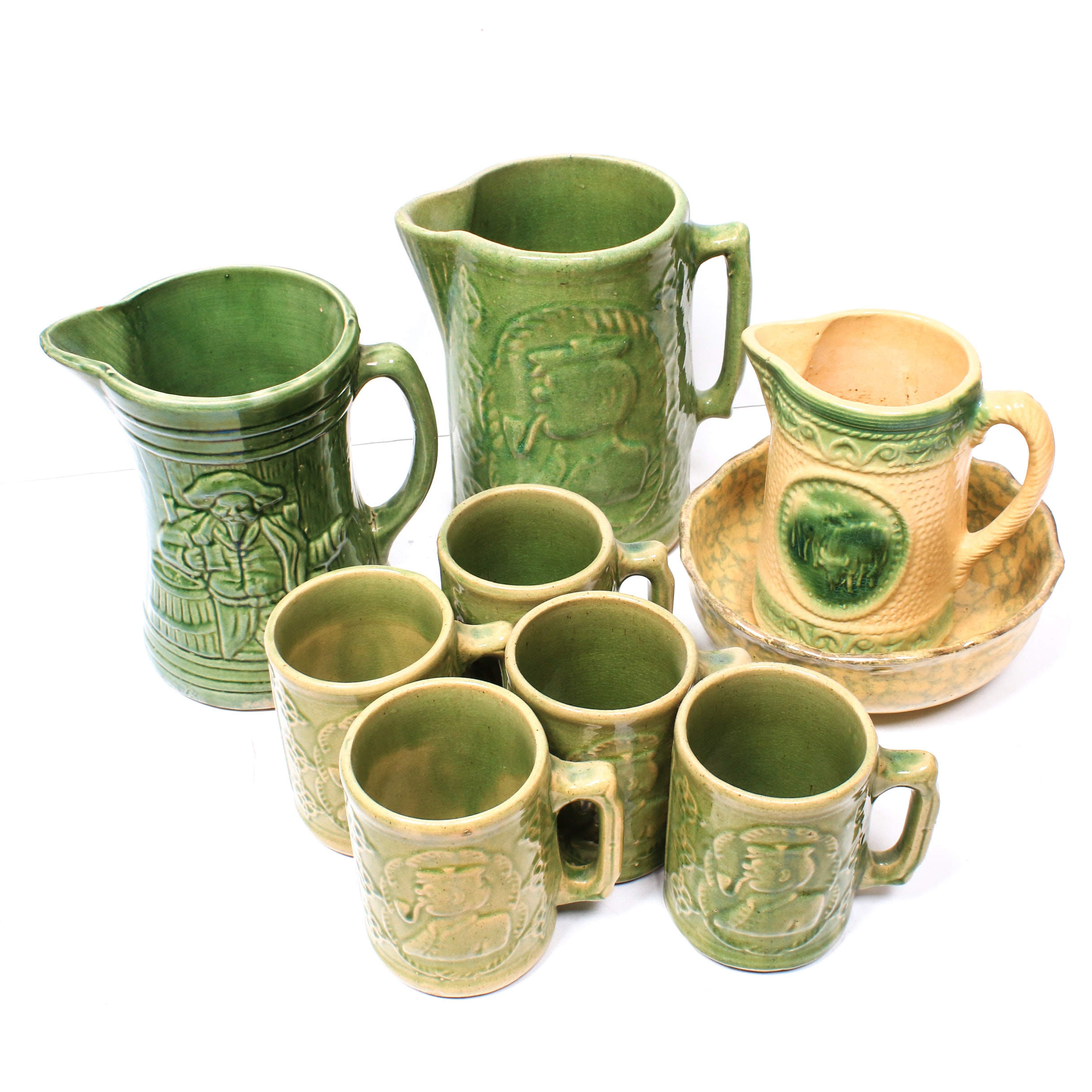 Burley  Winter Pottery Co. Pitchers and Mugs, Late 19th to Early 20th Century