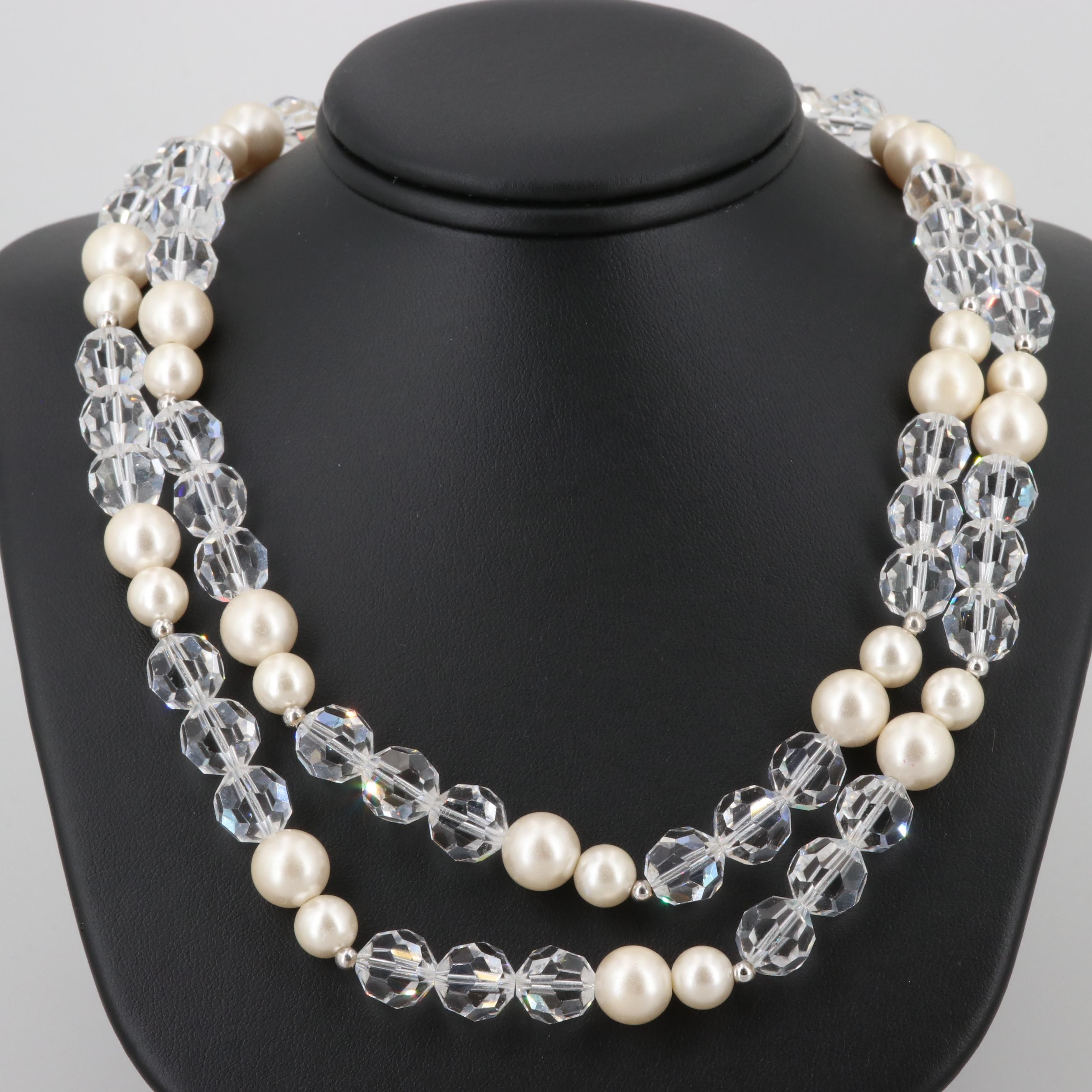 Imitation Pearl and Glass Crystal Beaded Necklace