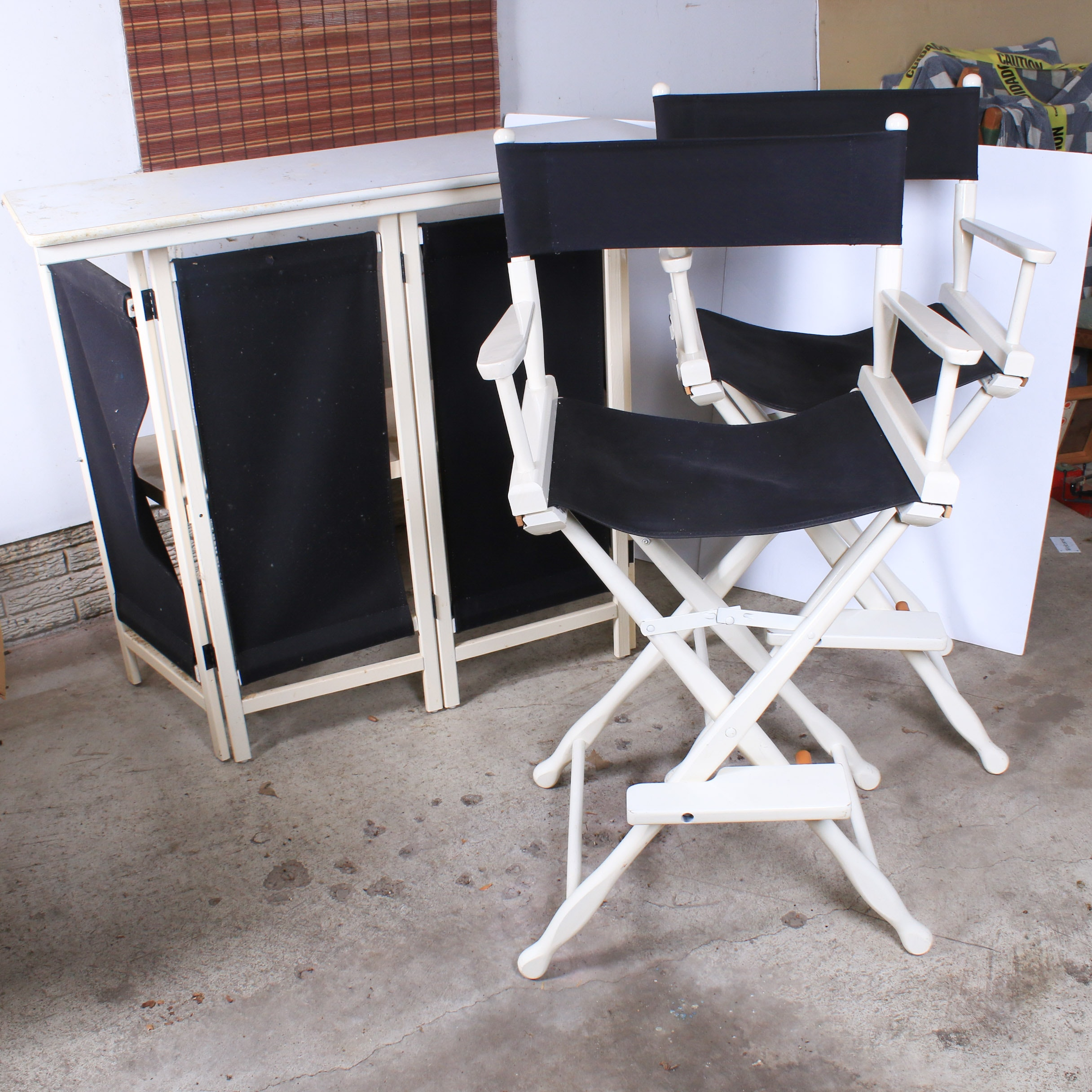 Folding Director's Chairs and Bar