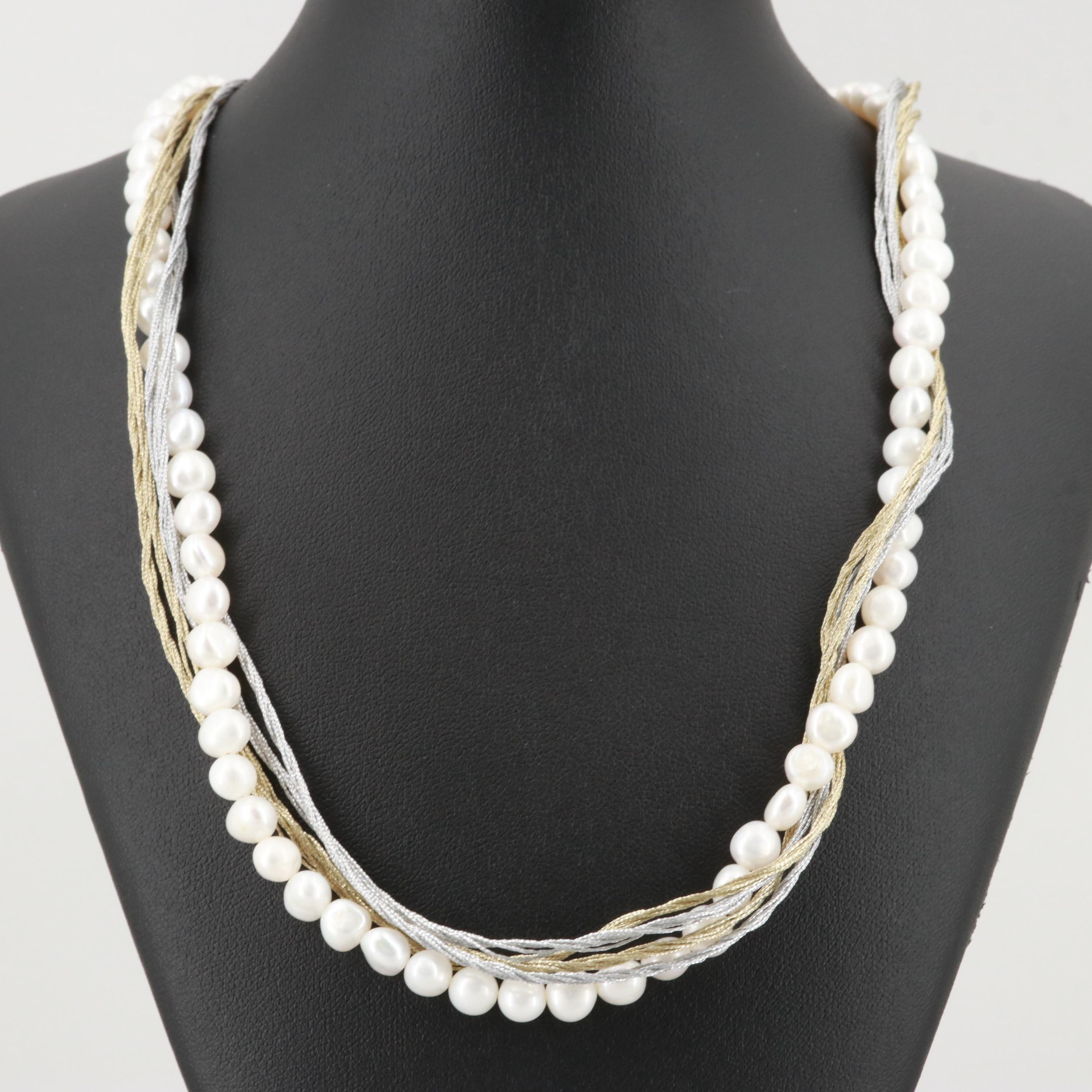 Cultured Pearl Necklace with Sterling Silver Accents