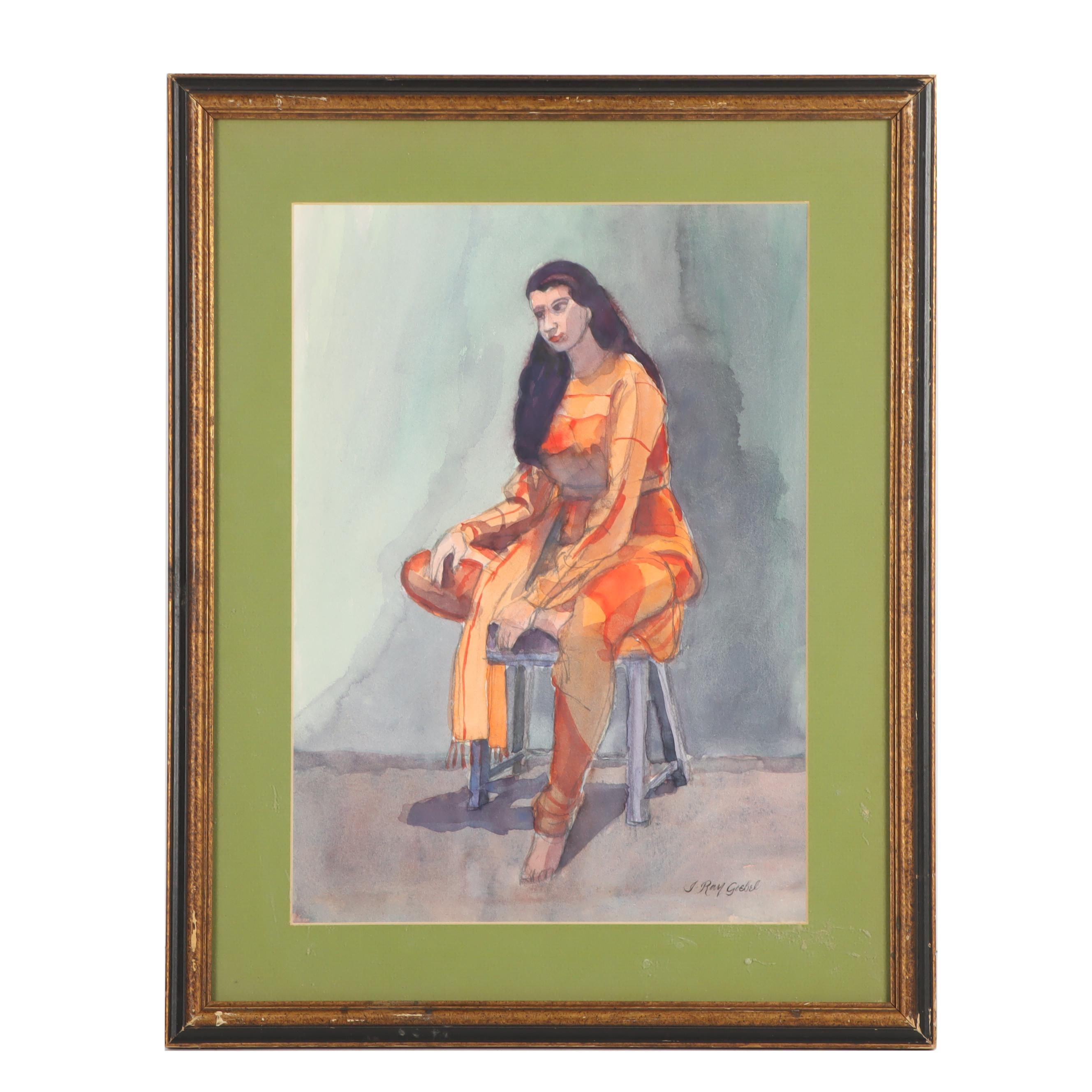 20th Century Female Portrait Gouache Painting