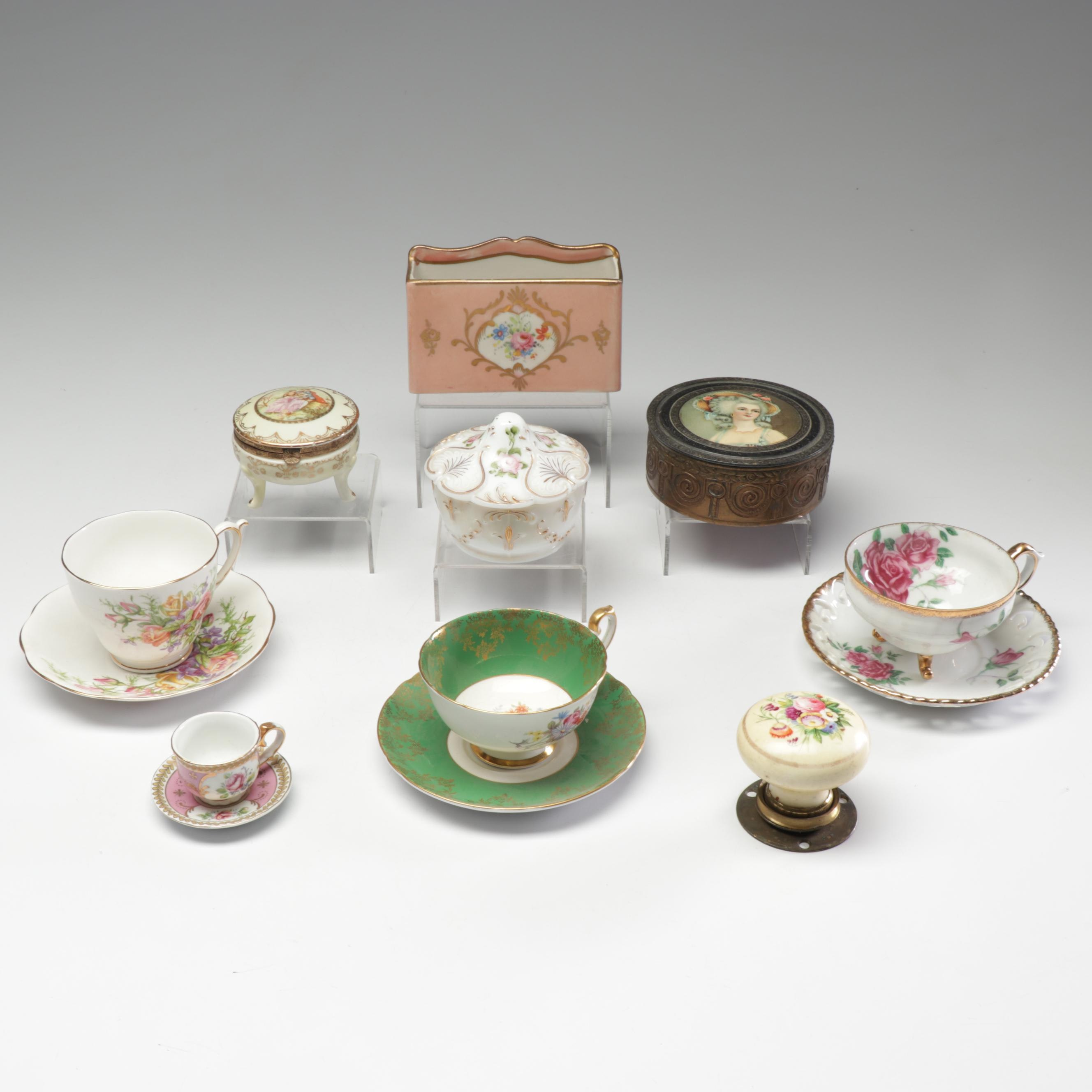 Gilt Ceramic Tea Settings and Vanity Home Accents