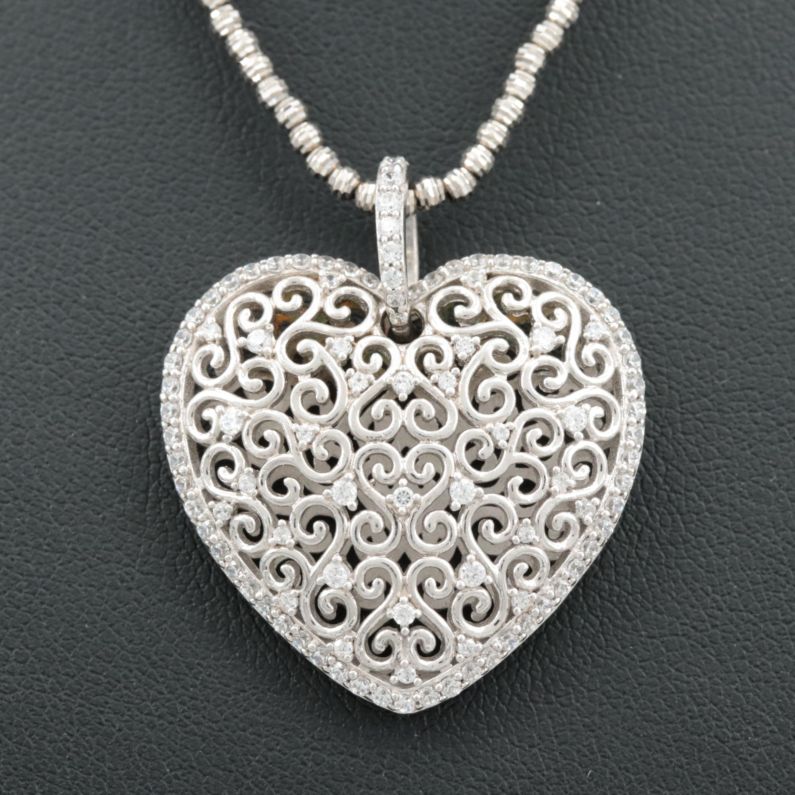 14K White Gold Chain and Sterling Silver Cubic Zirconia Pendant