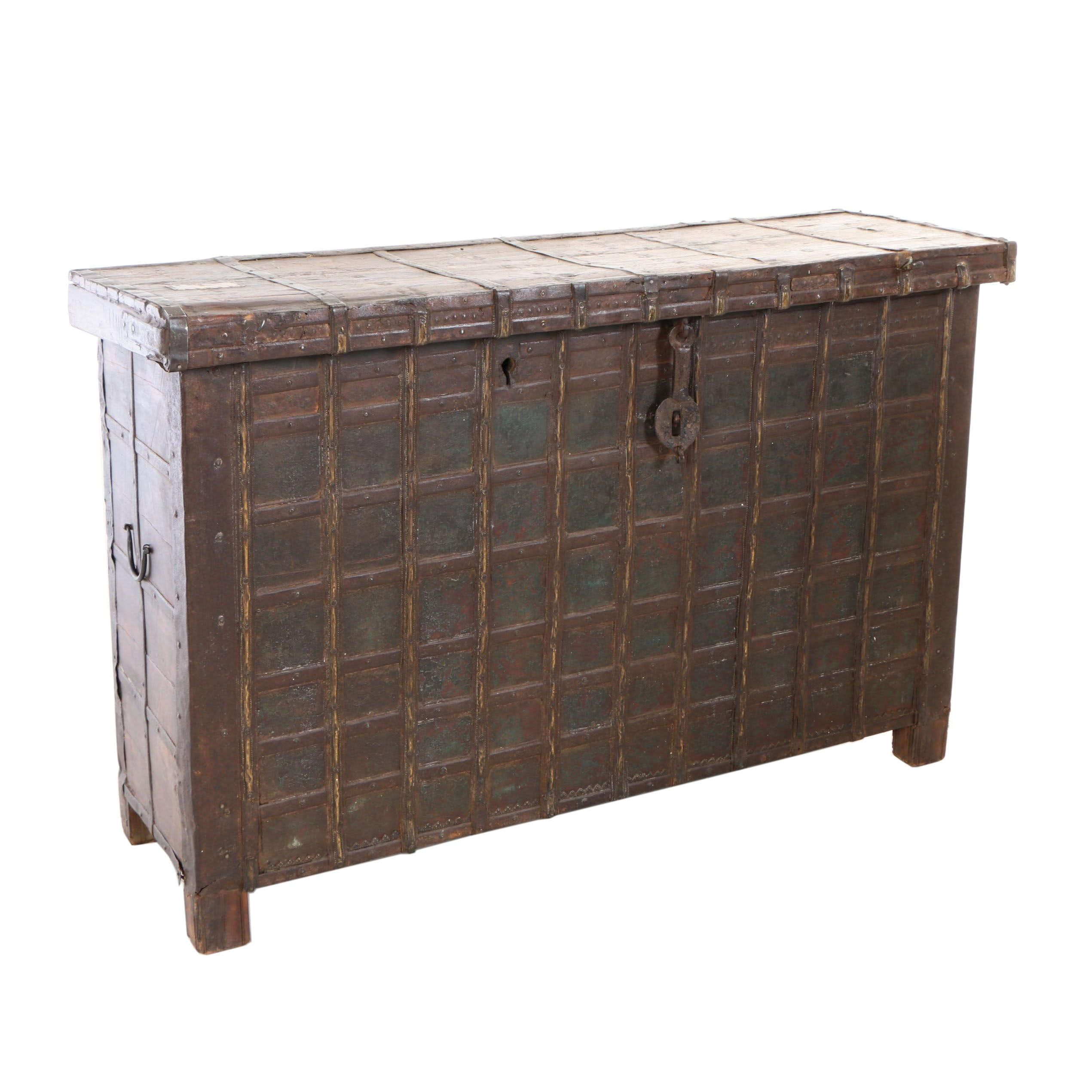 Metal-Bound and Iron-Mounted Teak Lift-Lid Chest, Probably India