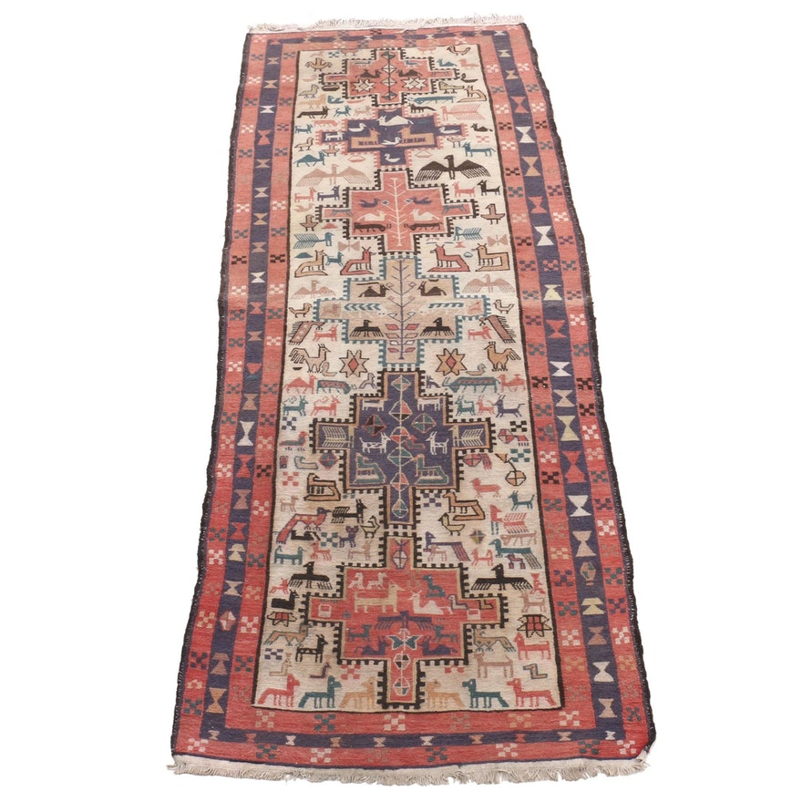 Handwoven Persian Pictorial Wool Soumak Rug