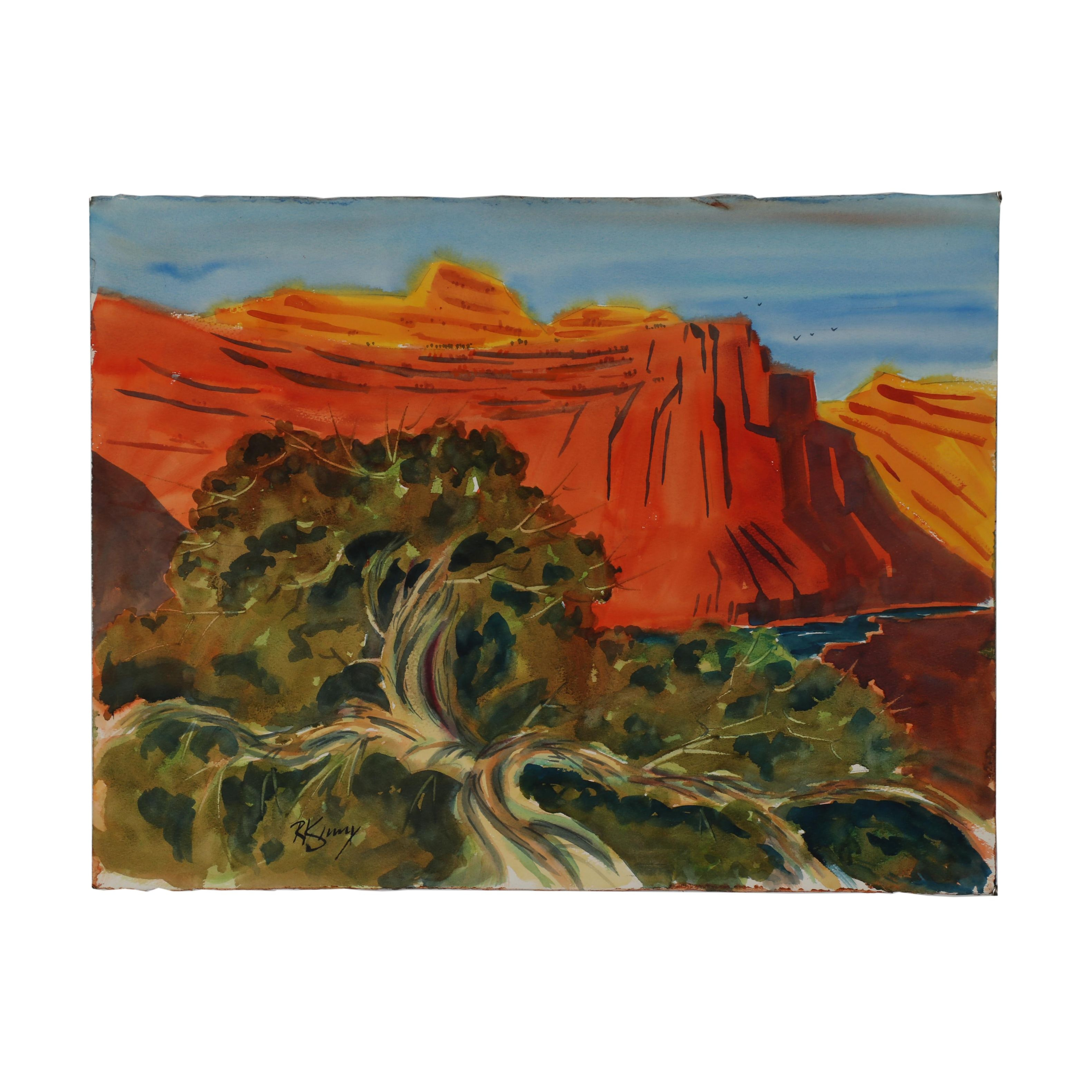 Rich Kenny Double-Sided Landscape Watercolor Painting