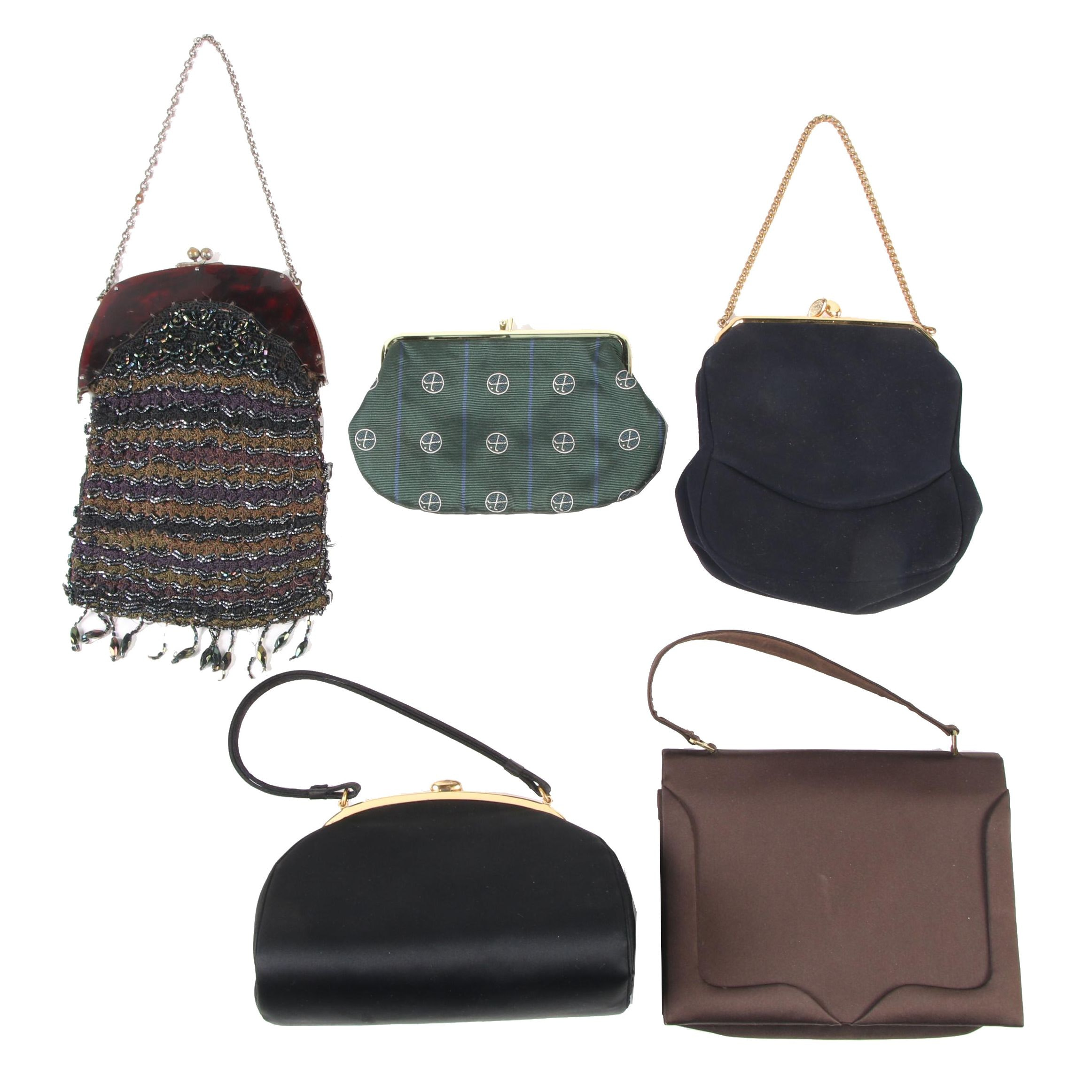 Evening Bags Including Robert Talbott, Satin, Suede and Beads, Vintage