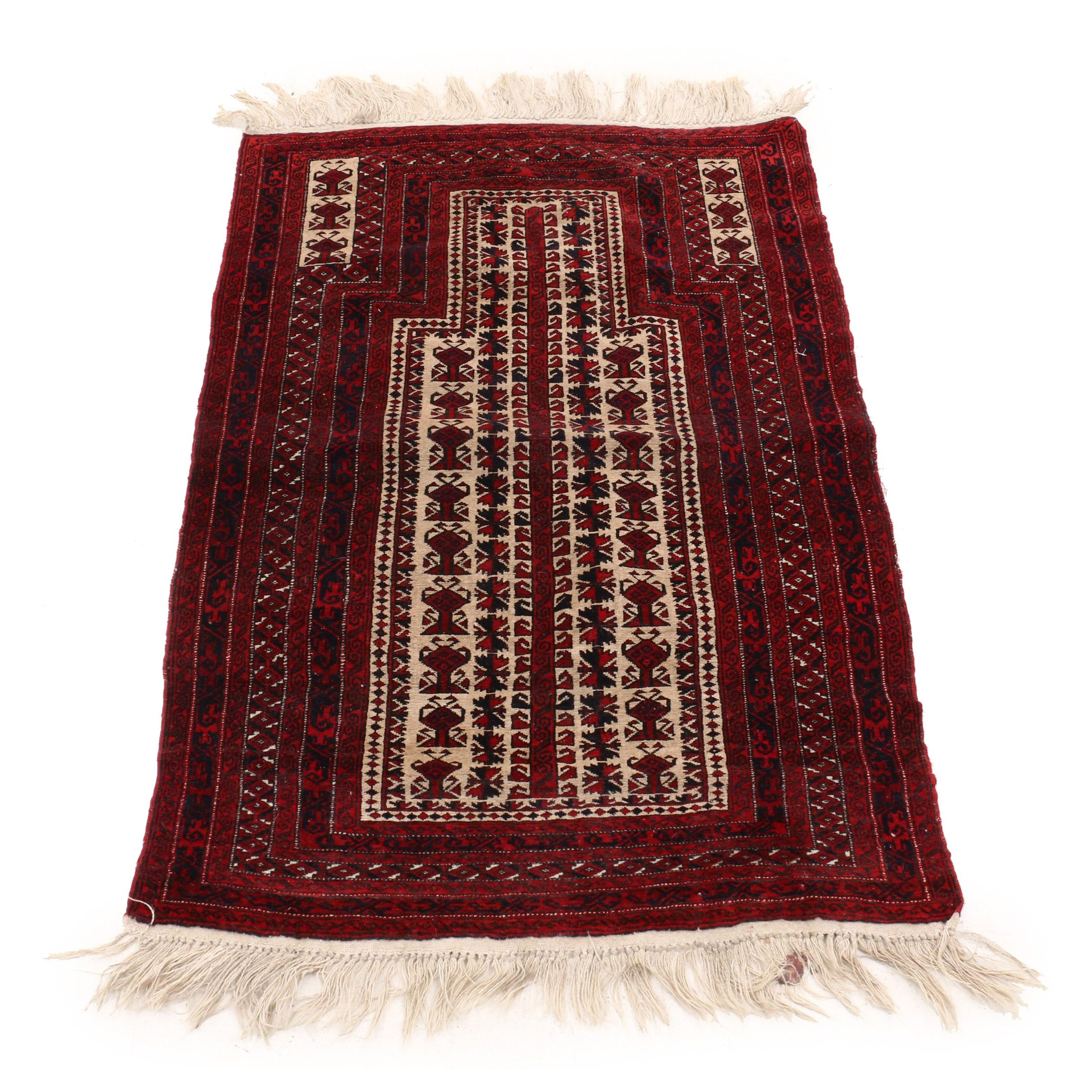 Hand-Knotted Persian Baluch Wool Prayer Rug