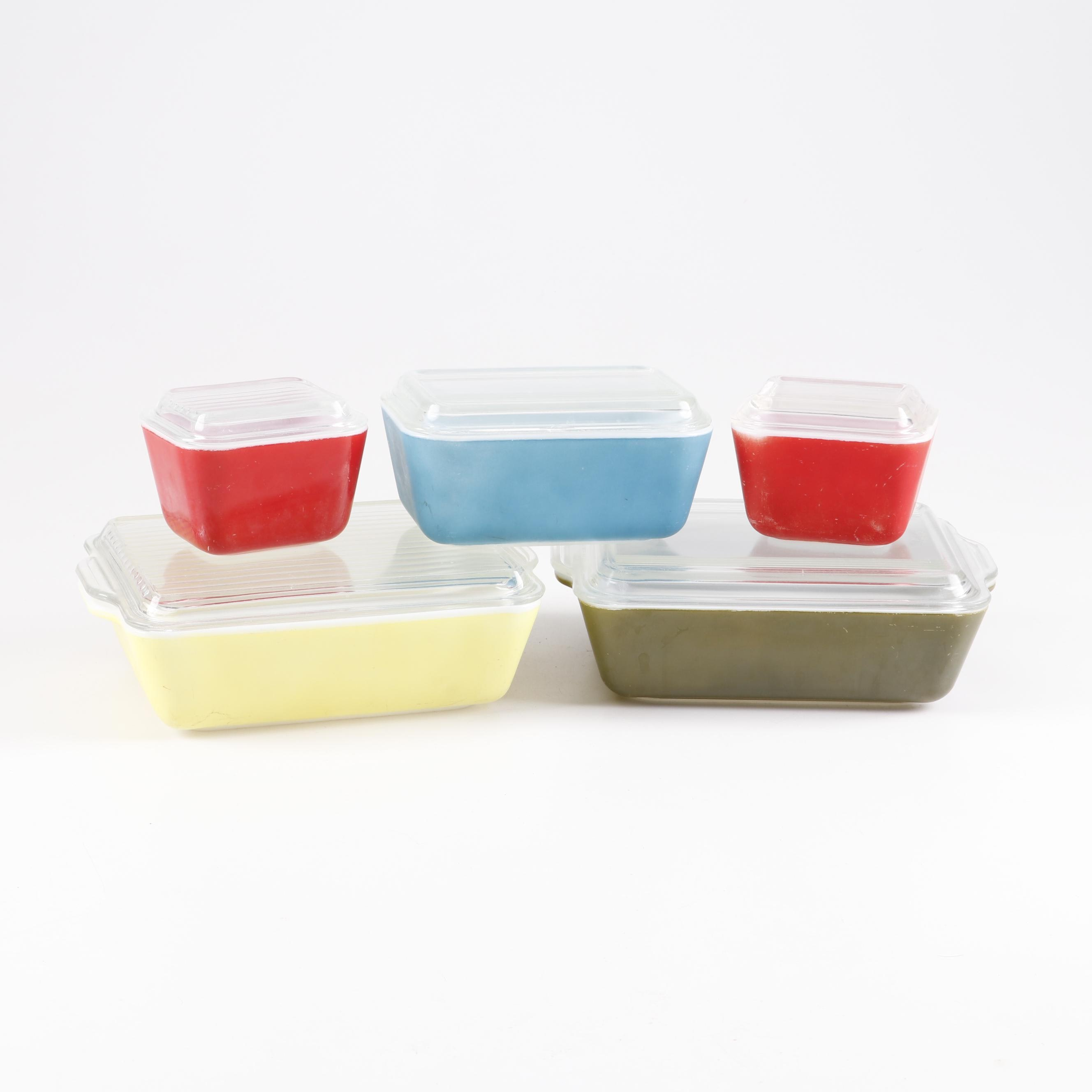 Pyrex Glass Bakeware and Refrigerator Boxes, Mid-Century